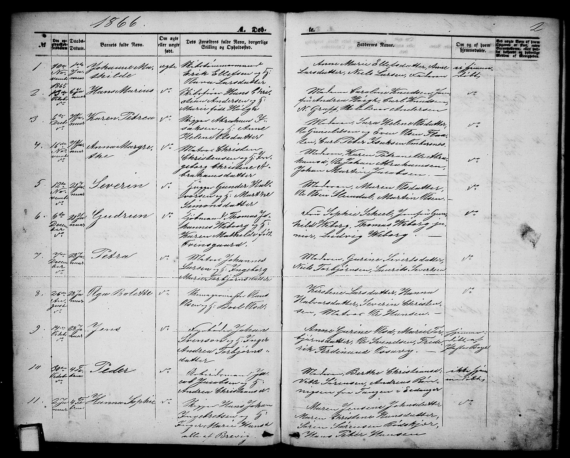 SAKO, Brevik kirkebøker, G/Ga/L0003: Klokkerbok nr. 3, 1866-1881, s. 2