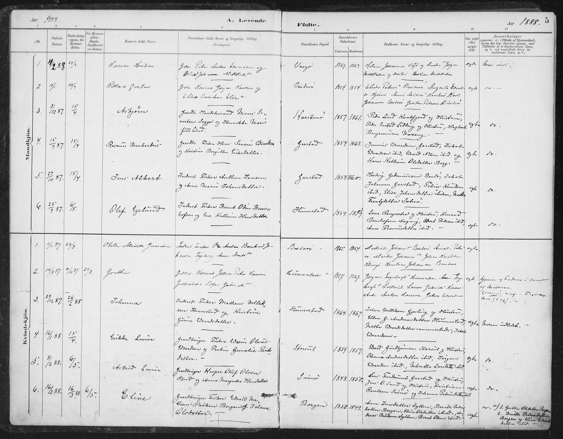 SAT, Ministerialprotokoller, klokkerbøker og fødselsregistre - Nord-Trøndelag, 786/L0687: Ministerialbok nr. 786A03, 1888-1898, s. 5