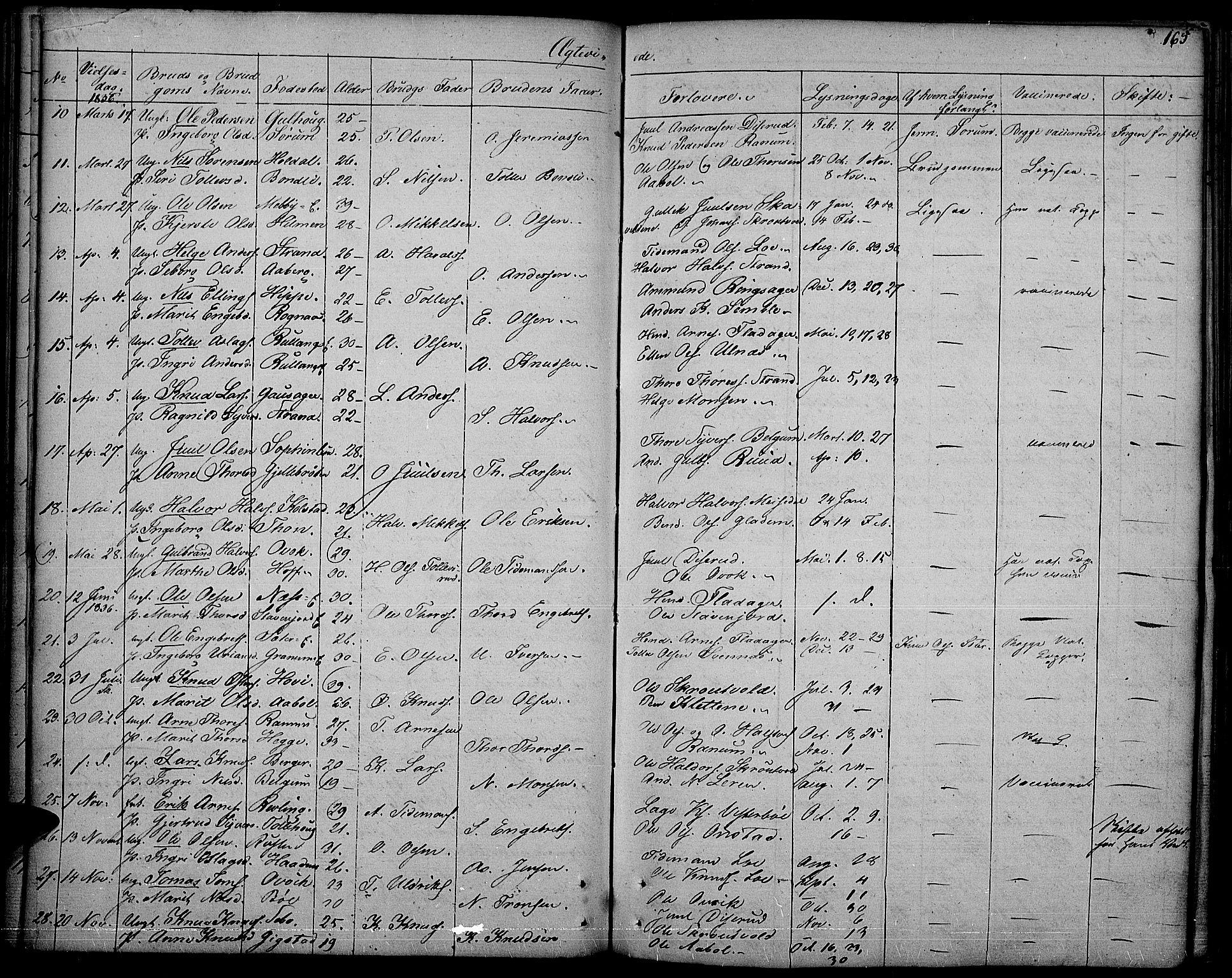 SAH, Nord-Aurdal prestekontor, Ministerialbok nr. 3, 1828-1841, s. 165