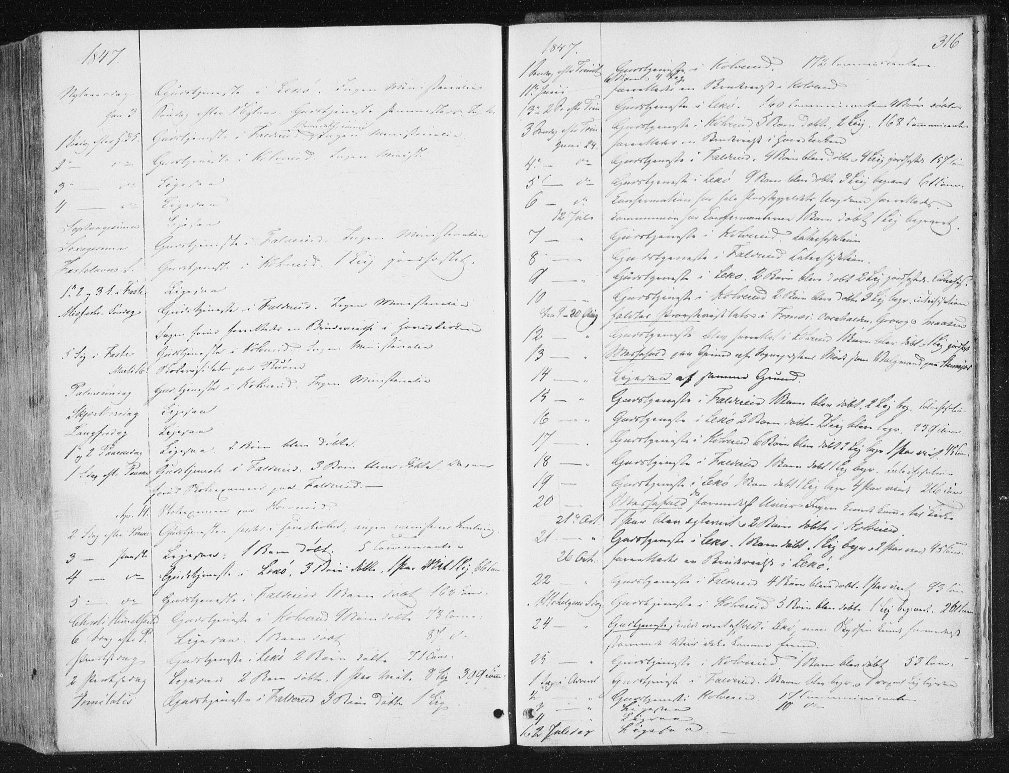 SAT, Ministerialprotokoller, klokkerbøker og fødselsregistre - Nord-Trøndelag, 780/L0640: Ministerialbok nr. 780A05, 1845-1856, s. 316