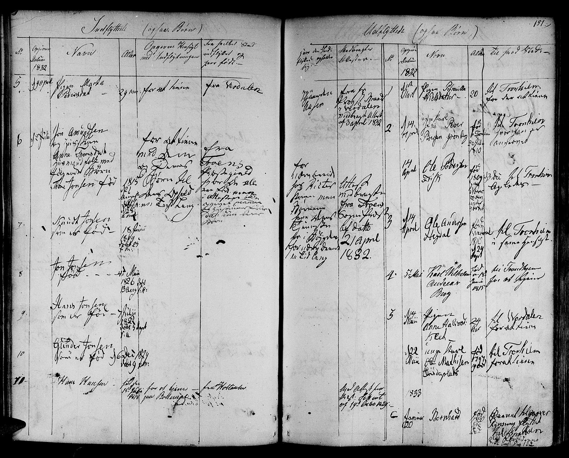 SAT, Ministerialprotokoller, klokkerbøker og fødselsregistre - Nord-Trøndelag, 730/L0277: Ministerialbok nr. 730A06 /1, 1830-1839, s. 151