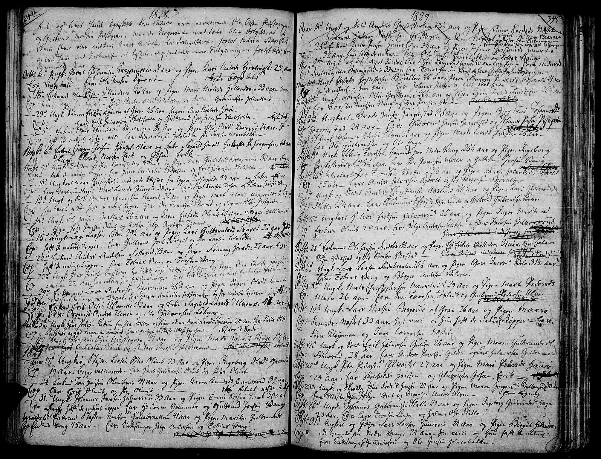 SAH, Jevnaker prestekontor, Ministerialbok nr. 4, 1800-1861, s. 344-345