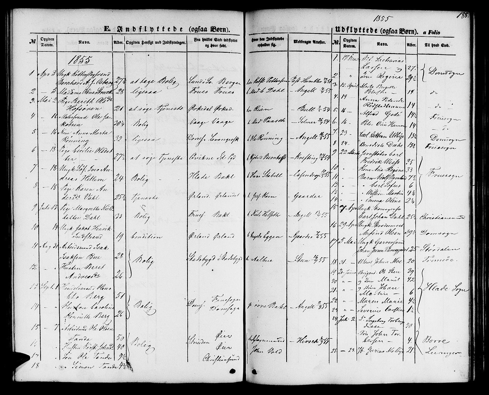 SAT, Ministerialprotokoller, klokkerbøker og fødselsregistre - Sør-Trøndelag, 604/L0184: Ministerialbok nr. 604A05, 1851-1860, s. 188