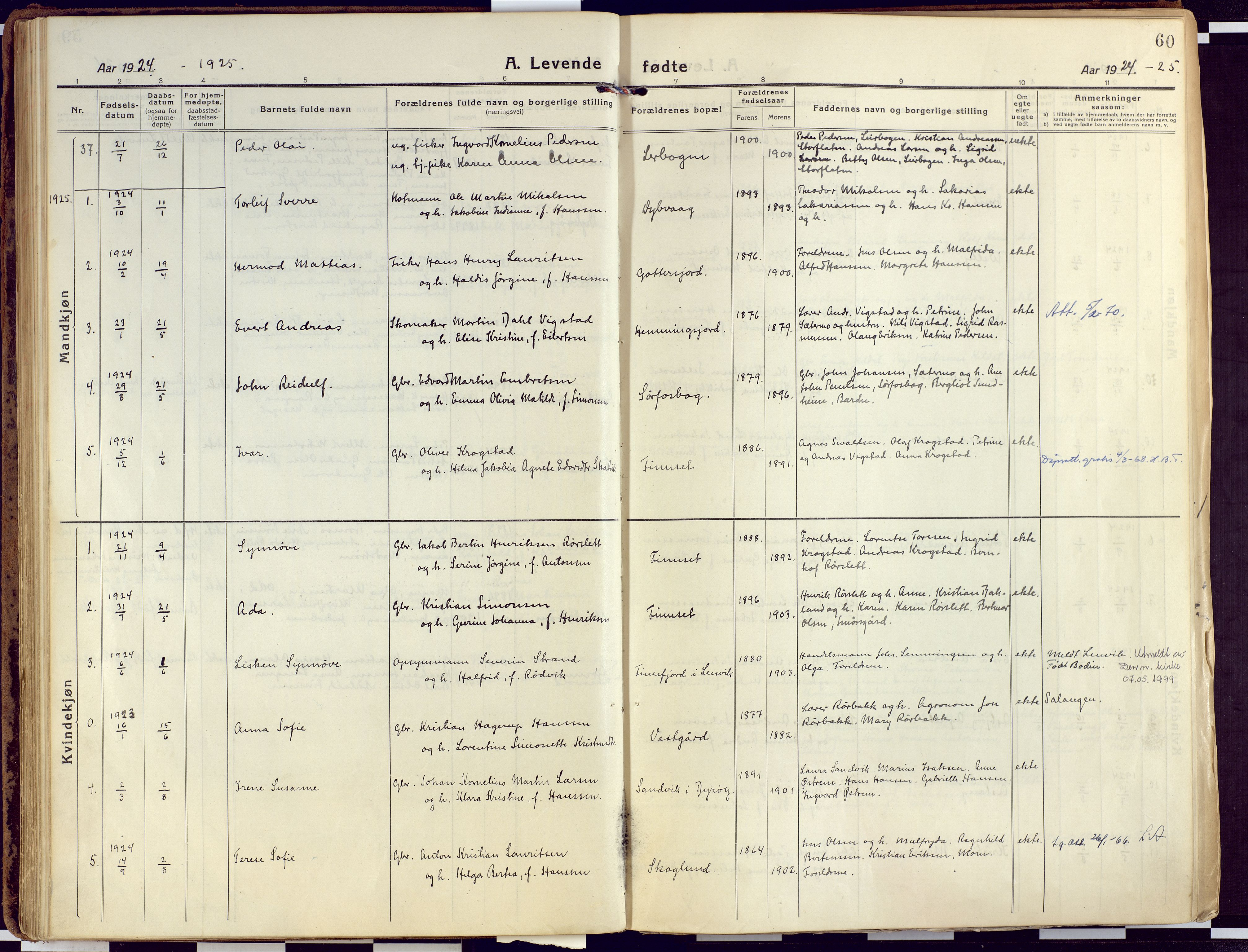 SATØ, Tranøy sokneprestkontor, I/Ia/Iaa/L0015kirke: Ministerialbok nr. 15, 1919-1928, s. 60