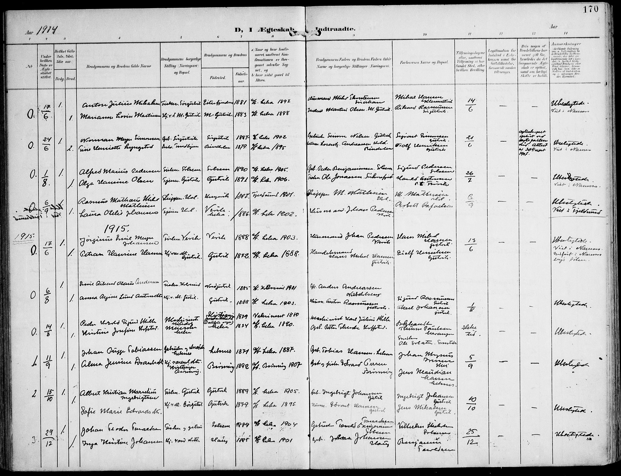 SAT, Ministerialprotokoller, klokkerbøker og fødselsregistre - Nord-Trøndelag, 788/L0698: Ministerialbok nr. 788A05, 1902-1921, s. 170
