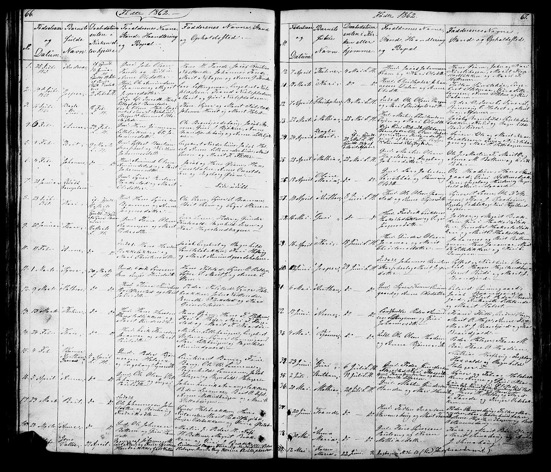 SAH, Lesja prestekontor, Klokkerbok nr. 5, 1850-1894, s. 66-67