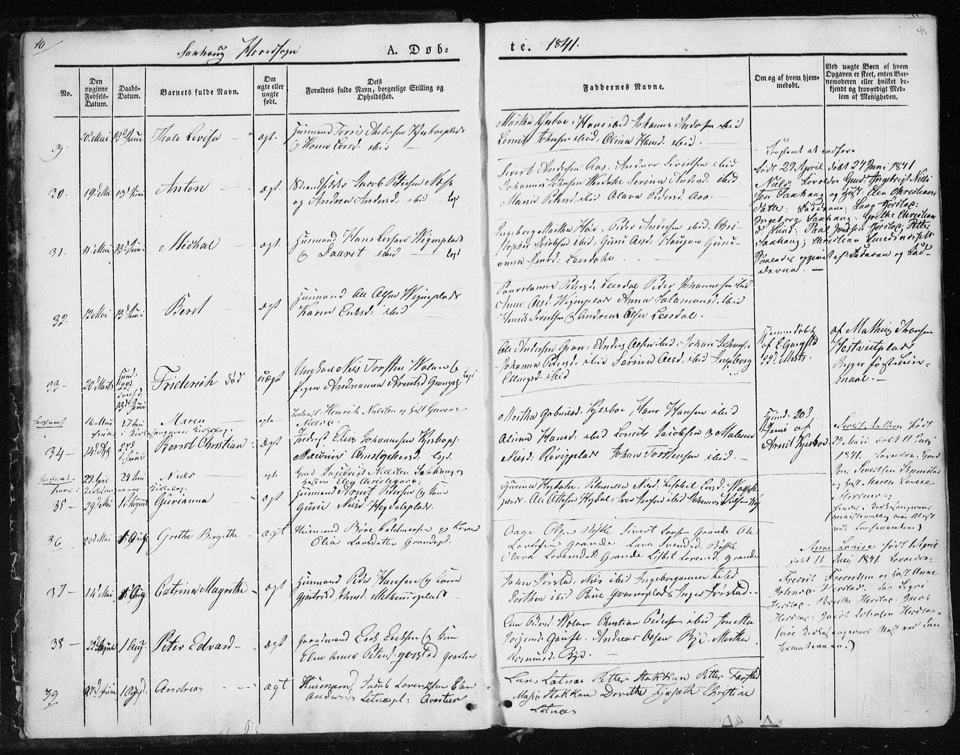 SAT, Ministerialprotokoller, klokkerbøker og fødselsregistre - Nord-Trøndelag, 730/L0280: Ministerialbok nr. 730A07 /1, 1840-1854, s. 10