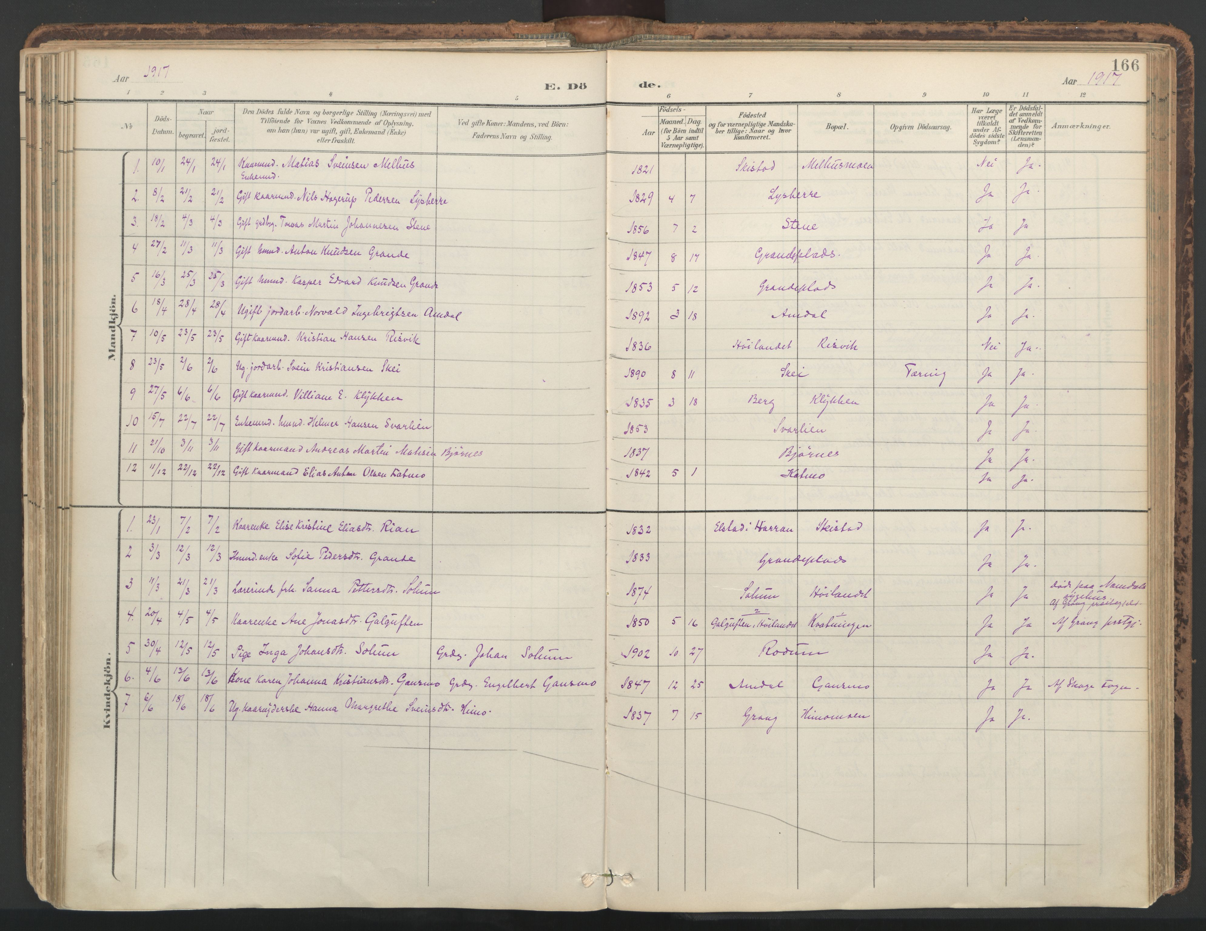 SAT, Ministerialprotokoller, klokkerbøker og fødselsregistre - Nord-Trøndelag, 764/L0556: Ministerialbok nr. 764A11, 1897-1924, s. 166