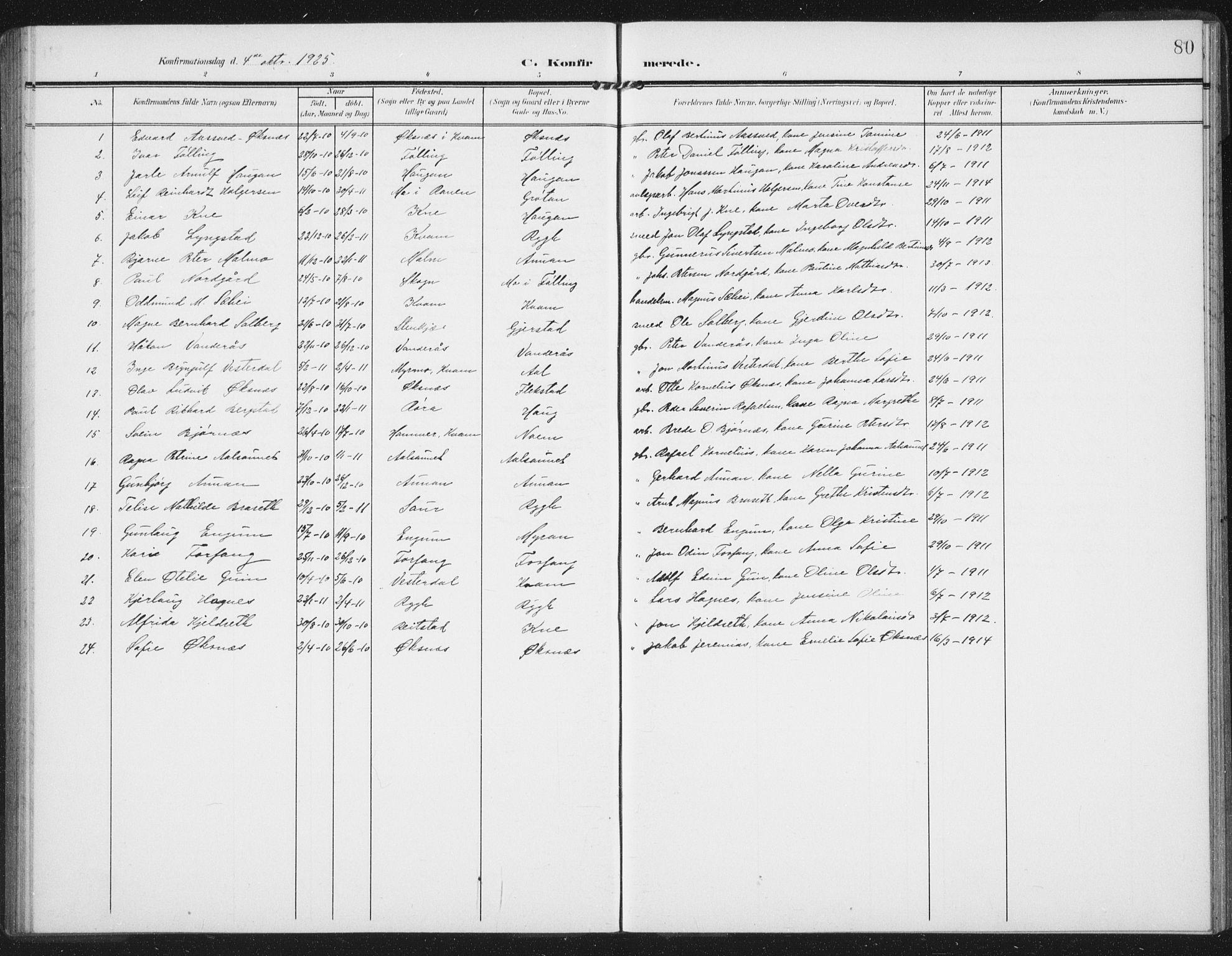 SAT, Ministerialprotokoller, klokkerbøker og fødselsregistre - Nord-Trøndelag, 747/L0460: Klokkerbok nr. 747C02, 1908-1939, s. 80