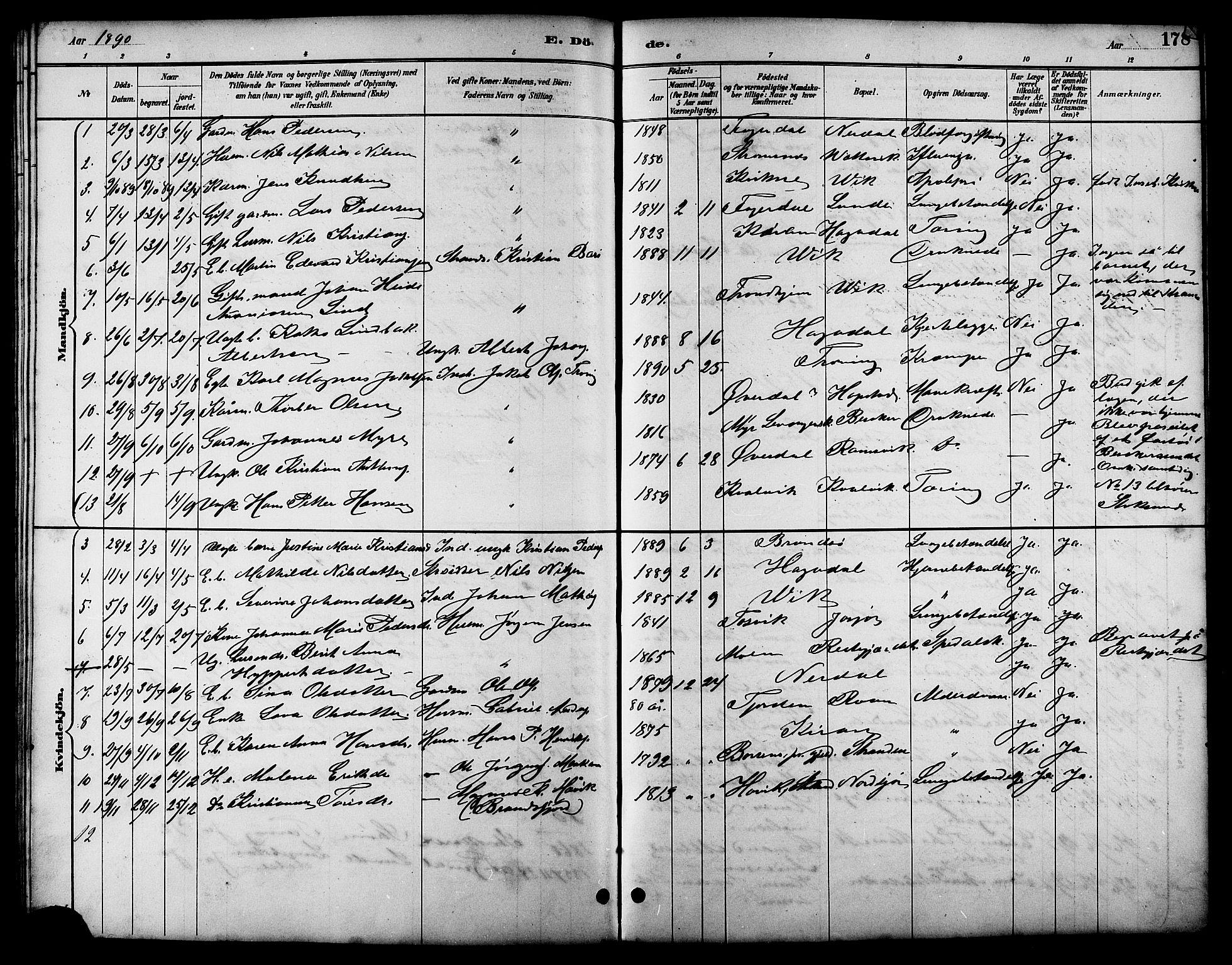 SAT, Ministerialprotokoller, klokkerbøker og fødselsregistre - Sør-Trøndelag, 657/L0716: Klokkerbok nr. 657C03, 1889-1904, s. 178