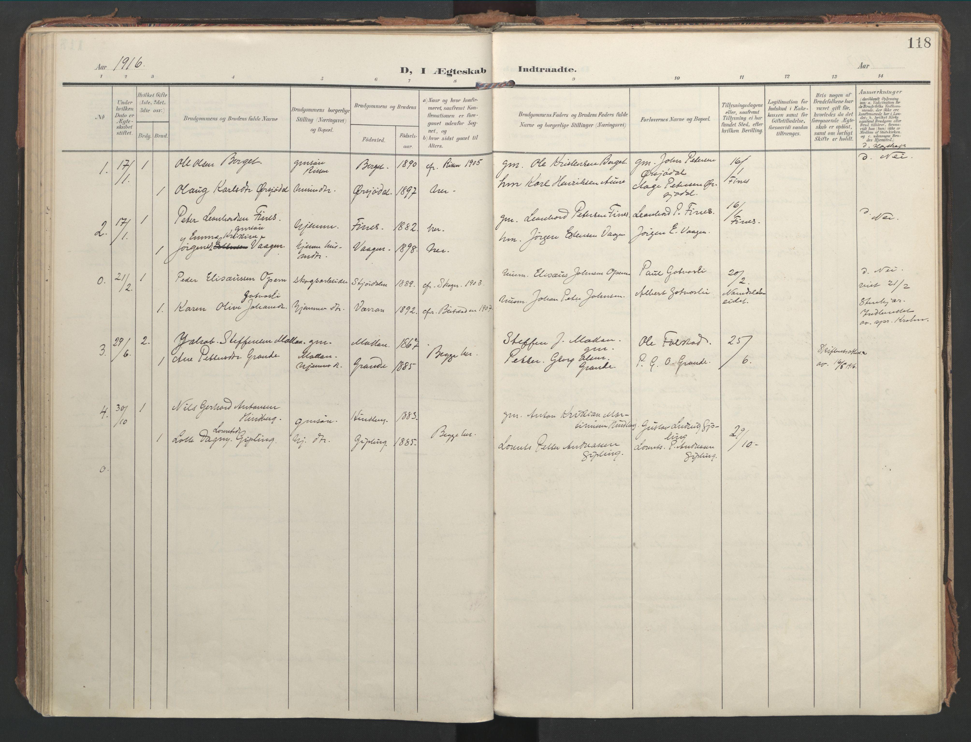 SAT, Ministerialprotokoller, klokkerbøker og fødselsregistre - Nord-Trøndelag, 744/L0421: Ministerialbok nr. 744A05, 1905-1930, s. 118