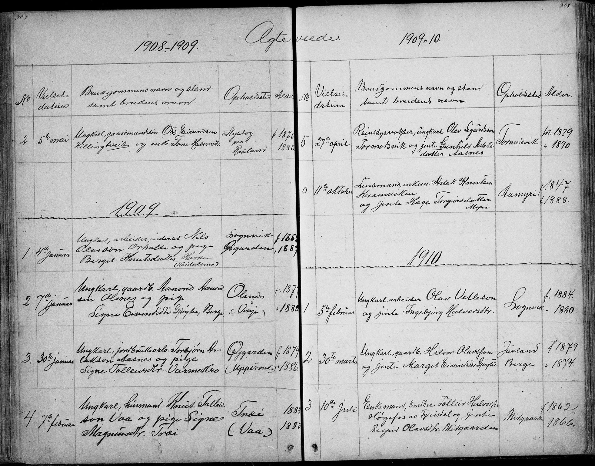 SAKO, Rauland kirkebøker, G/Ga/L0002: Klokkerbok nr. I 2, 1849-1935, s. 307-308