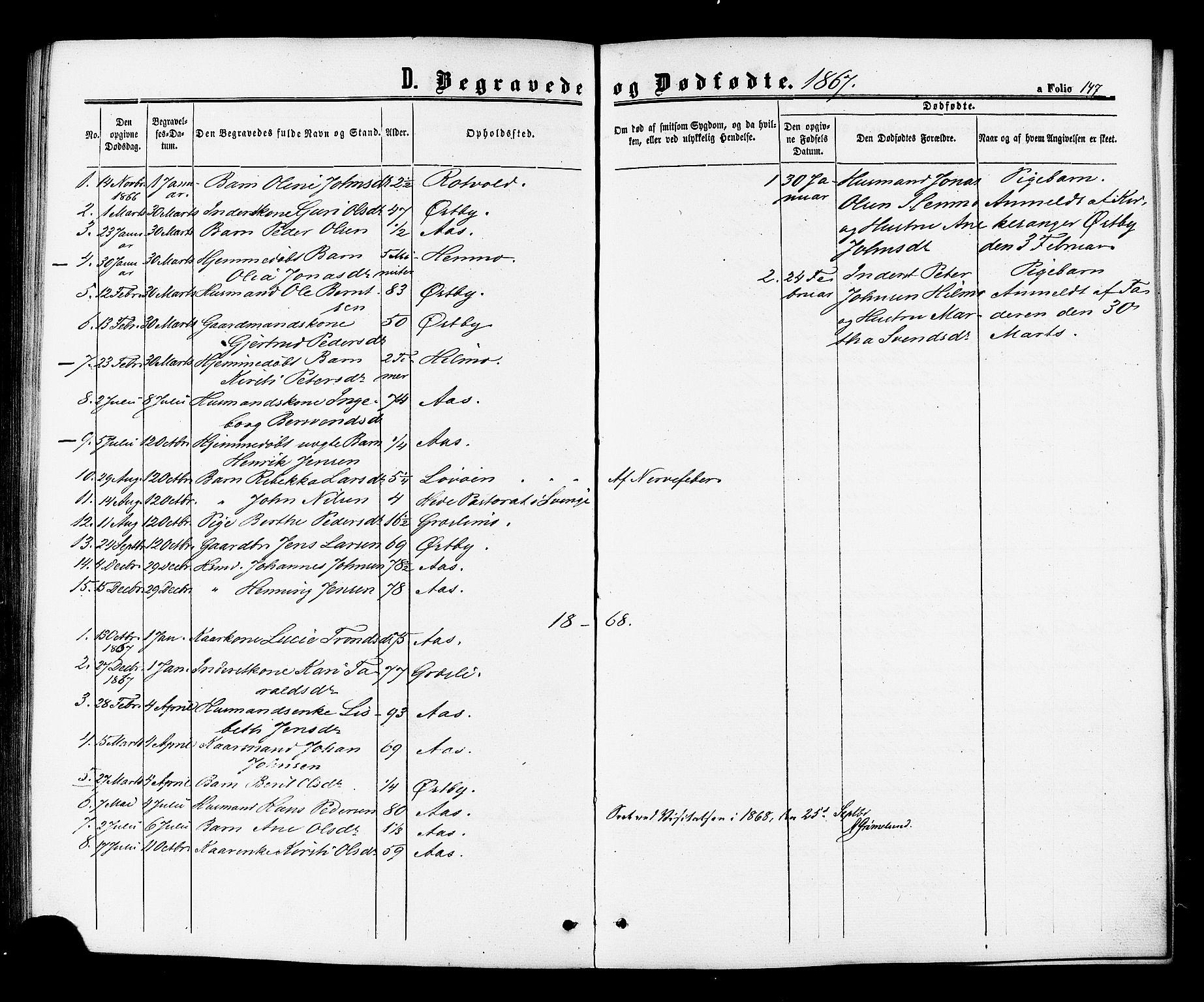 SAT, Ministerialprotokoller, klokkerbøker og fødselsregistre - Sør-Trøndelag, 698/L1163: Ministerialbok nr. 698A01, 1862-1887, s. 147