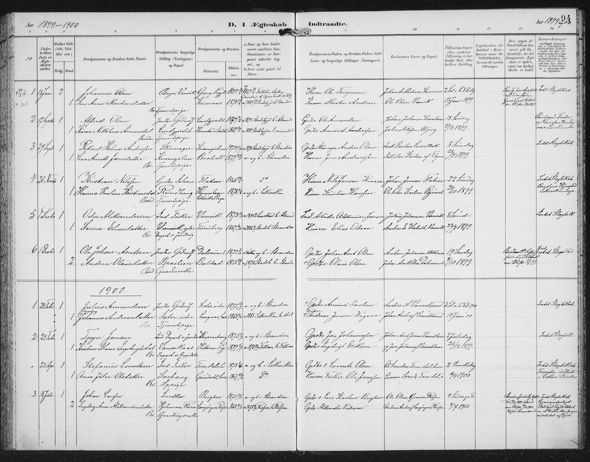 SAT, Ministerialprotokoller, klokkerbøker og fødselsregistre - Nord-Trøndelag, 702/L0024: Ministerialbok nr. 702A02, 1898-1914, s. 94
