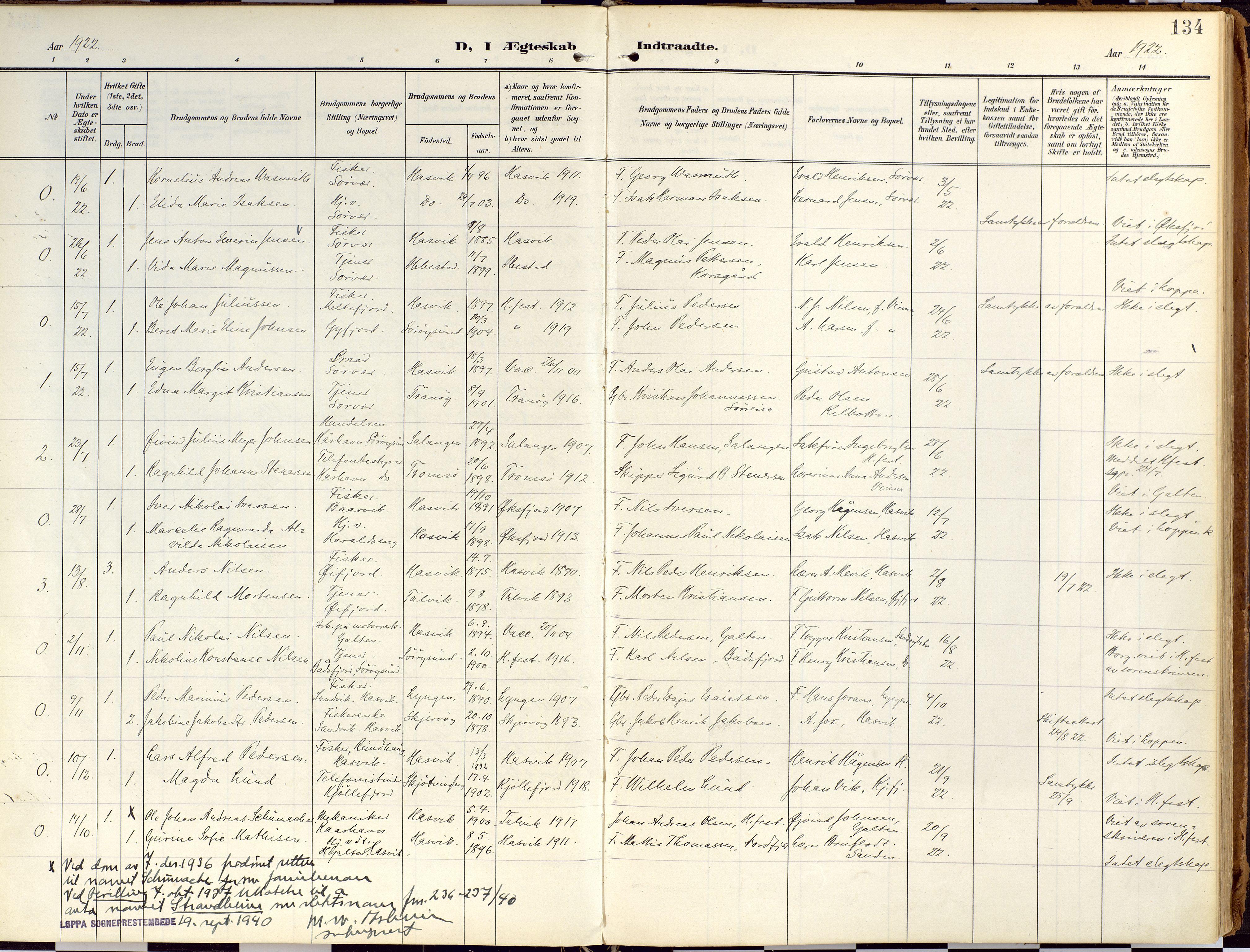 SATØ, Loppa sokneprestkontor, H/Ha/L0010kirke: Ministerialbok nr. 10, 1907-1922, s. 134