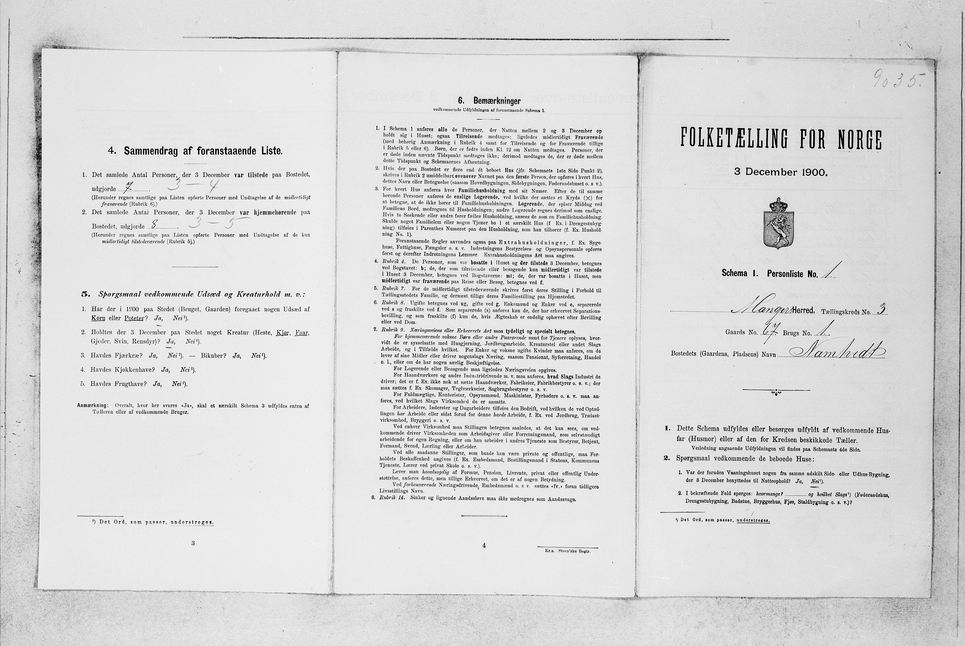 SAB, Folketelling 1900 for 1261 Manger herred, 1900, s. 383