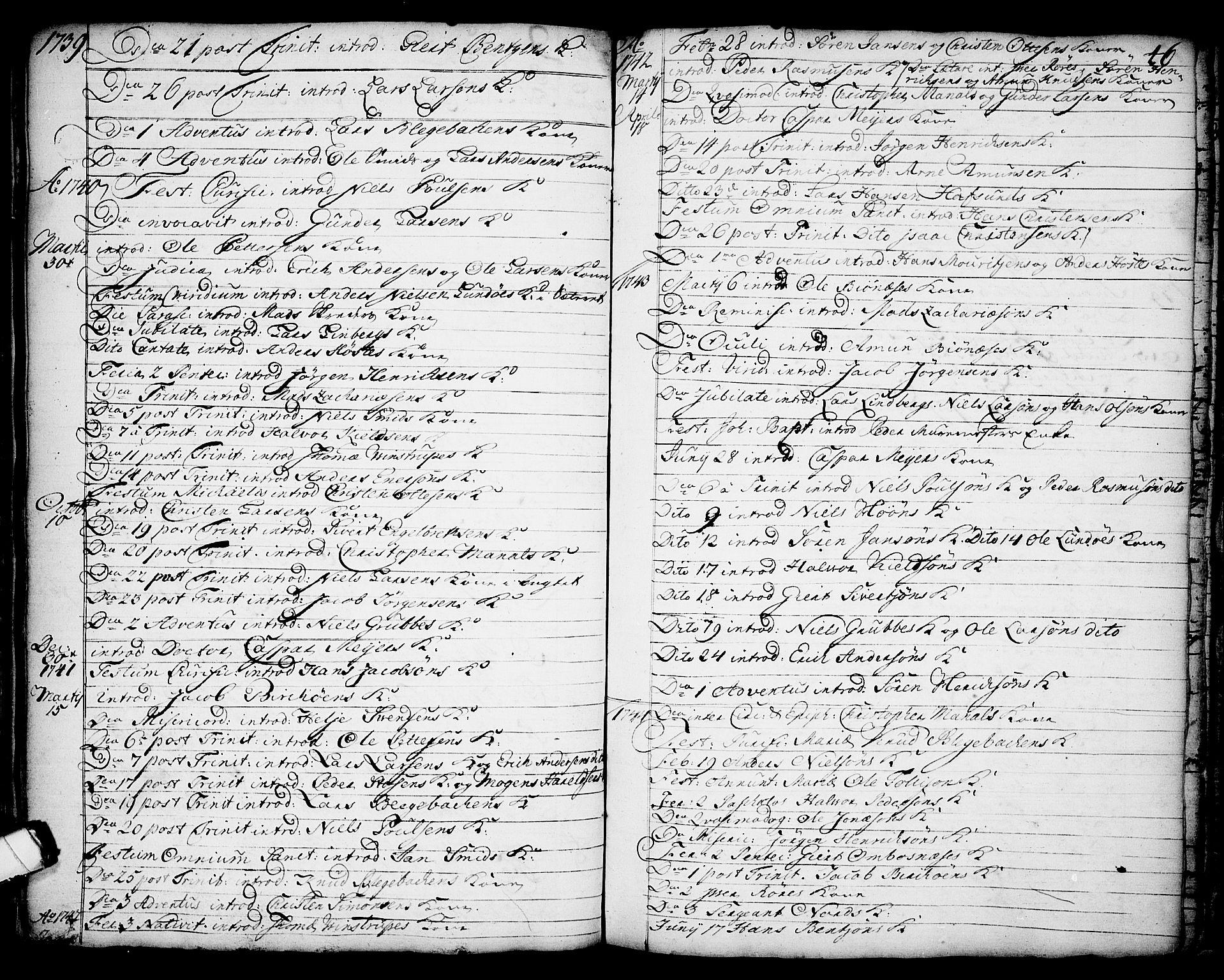 SAKO, Brevik kirkebøker, F/Fa/L0002: Ministerialbok nr. 2, 1720-1764, s. 46