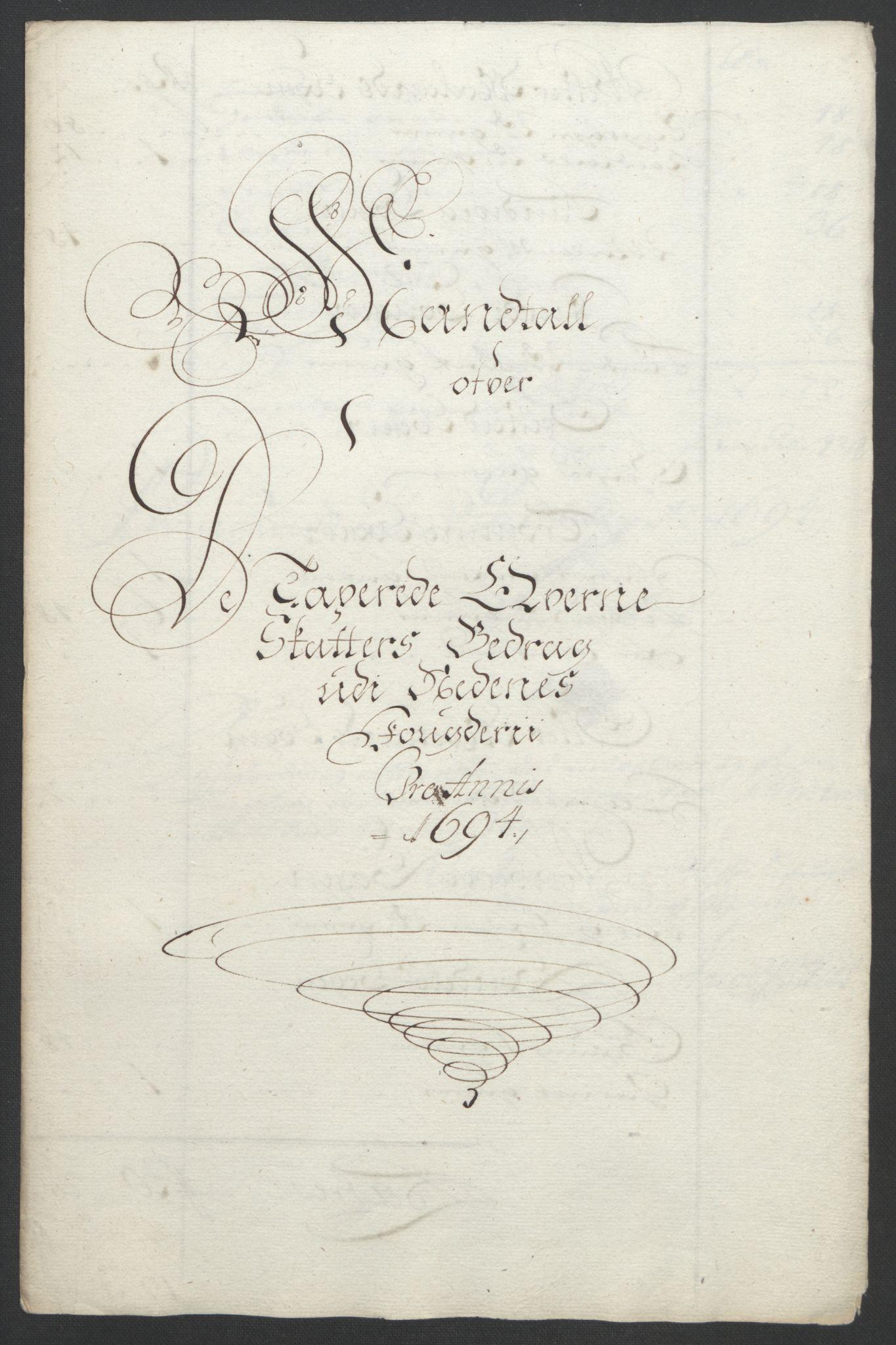 RA, Rentekammeret inntil 1814, Reviderte regnskaper, Fogderegnskap, R39/L2312: Fogderegnskap Nedenes, 1693-1695, s. 145