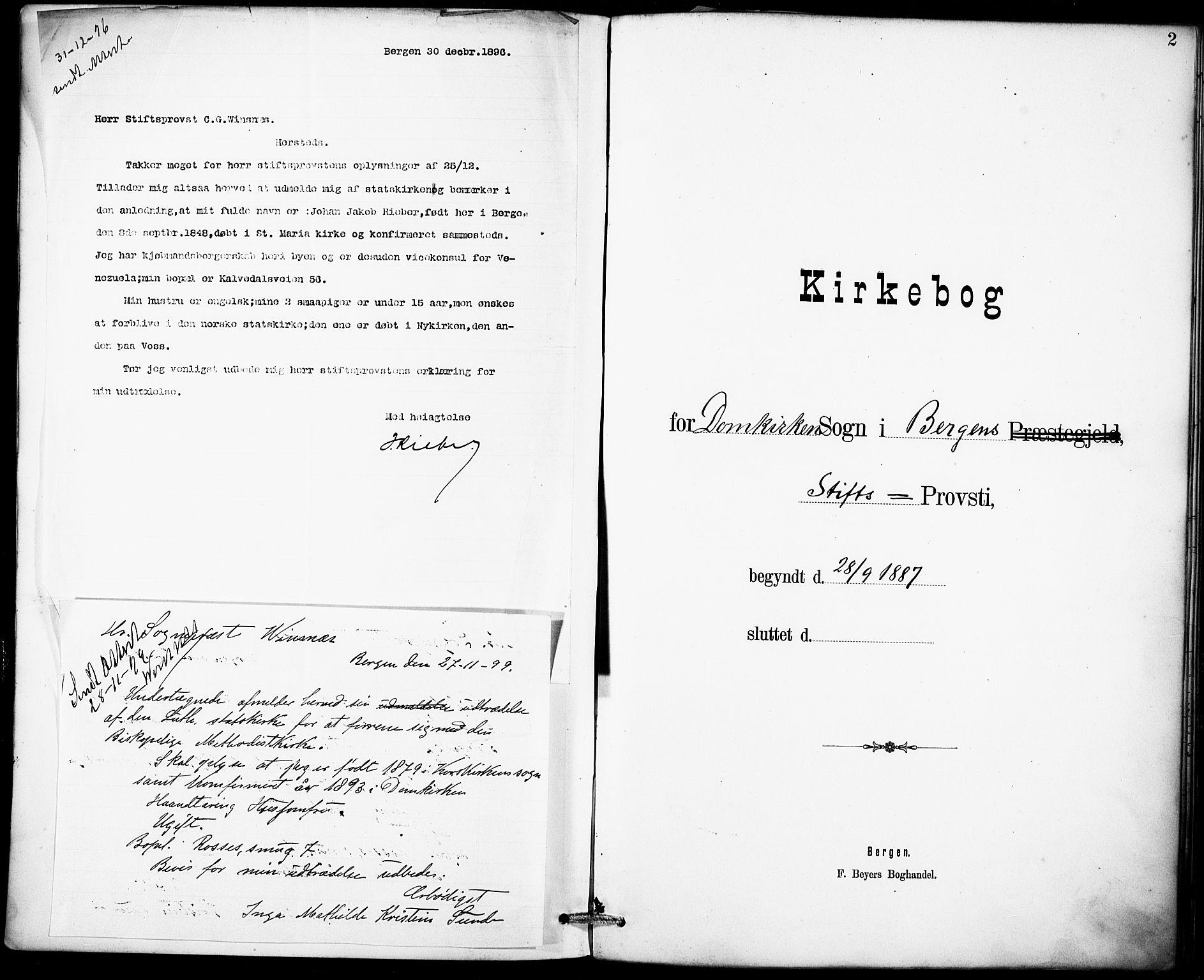 SAB, Domkirken Sokneprestembete, H/Haa: Ministerialbok nr. I 1, 1887-1908, s. 2