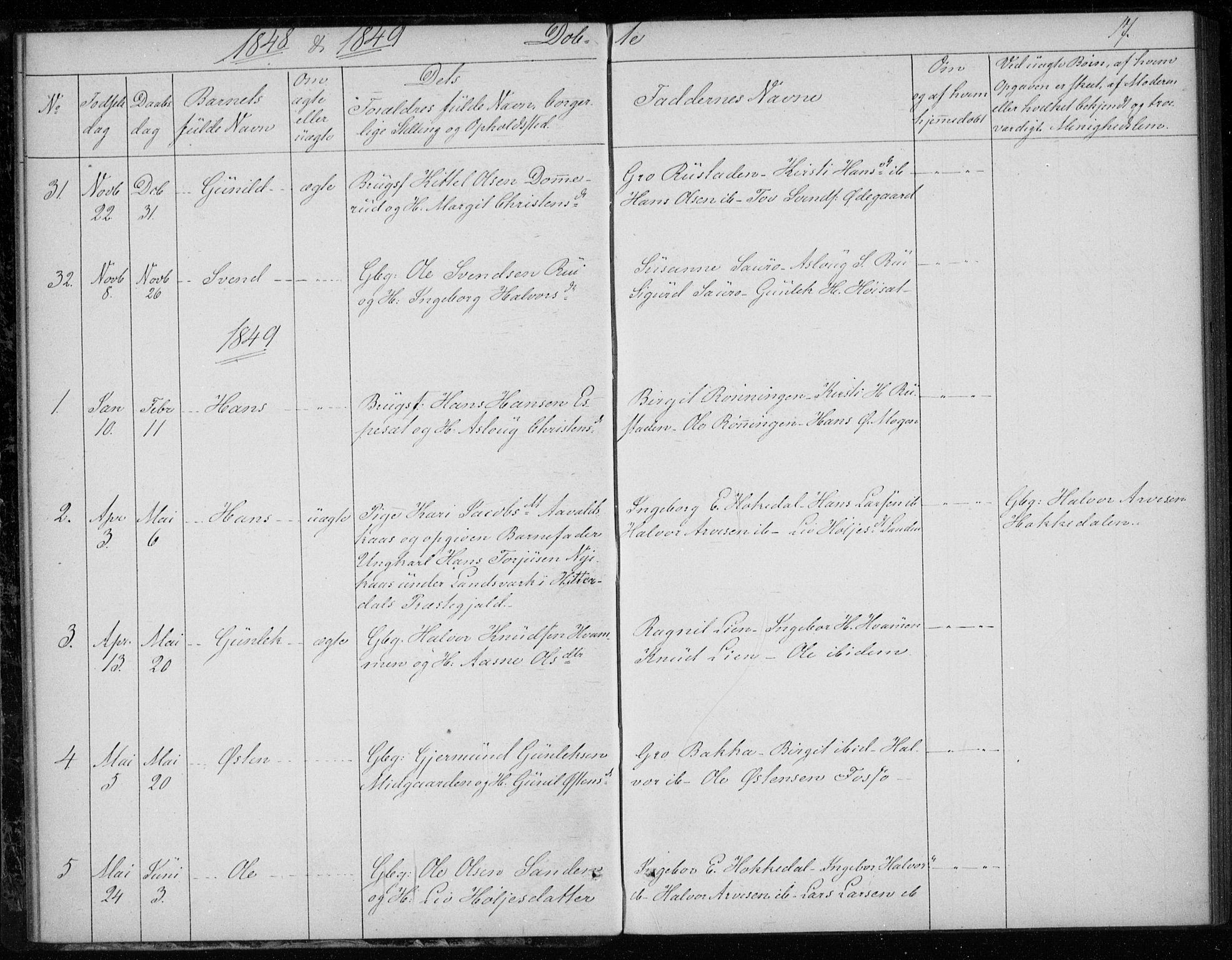 SAKO, Gransherad kirkebøker, F/Fb/L0003: Ministerialbok nr. II 3, 1844-1859, s. 17