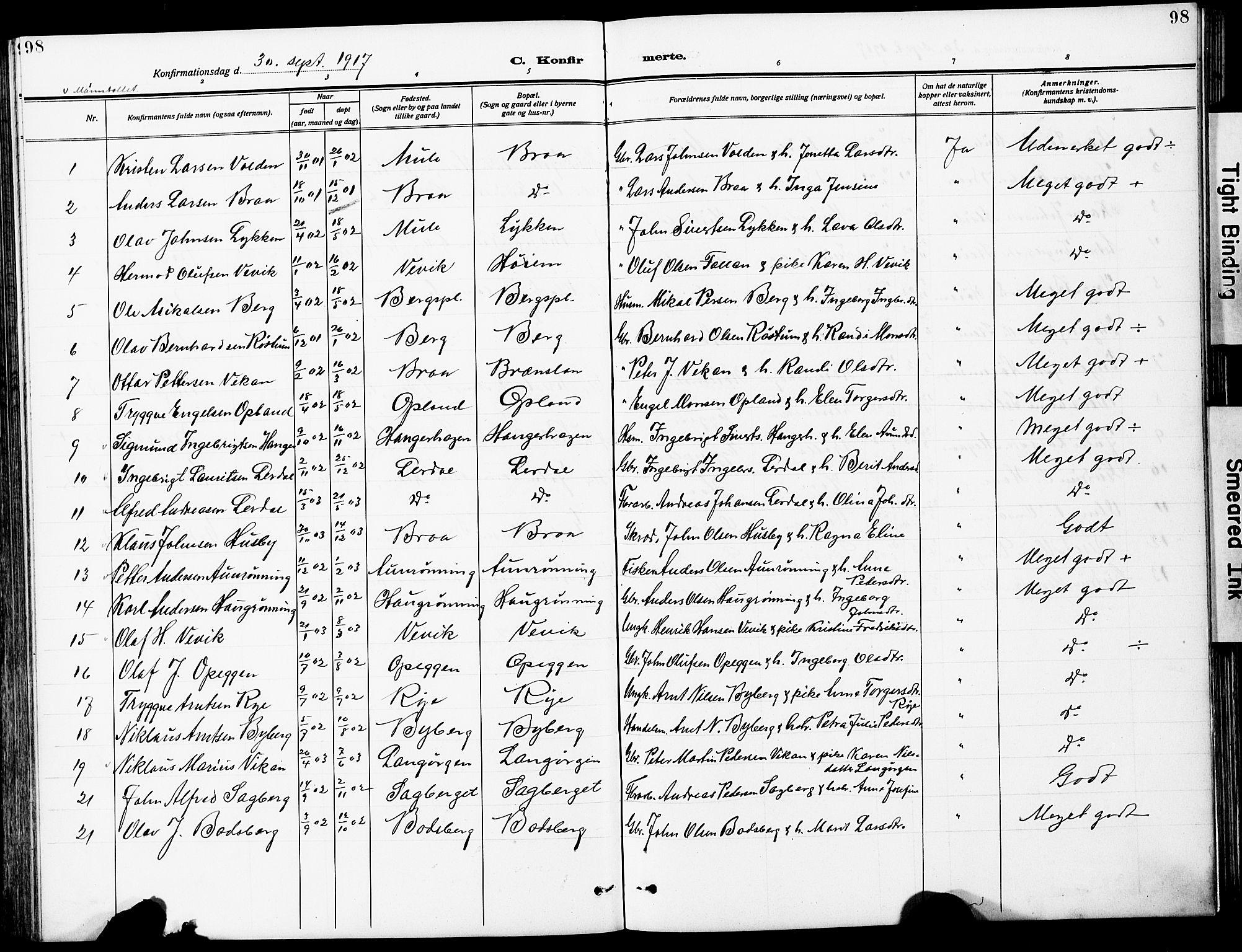 SAT, Ministerialprotokoller, klokkerbøker og fødselsregistre - Sør-Trøndelag, 612/L0388: Klokkerbok nr. 612C04, 1909-1929, s. 98