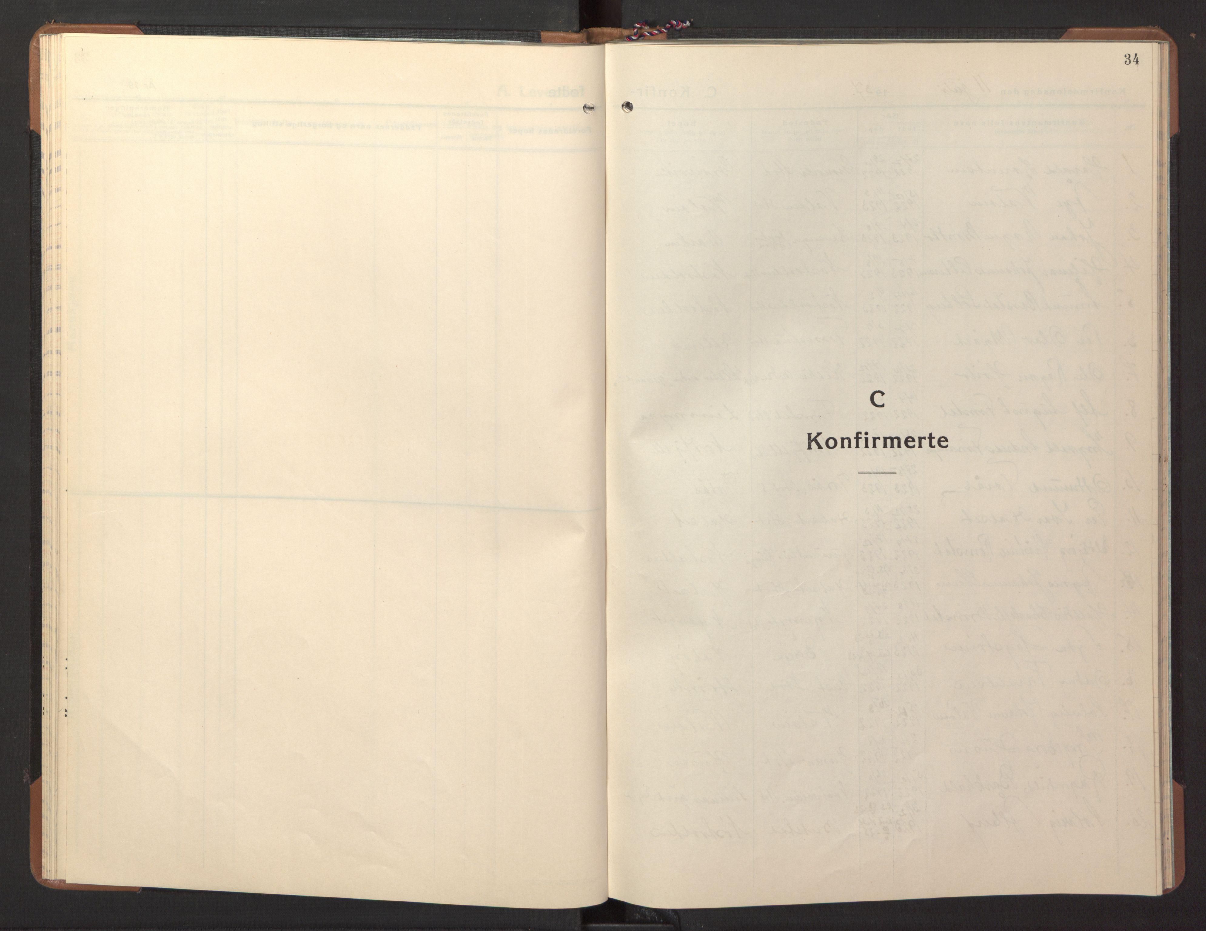 SAT, Ministerialprotokoller, klokkerbøker og fødselsregistre - Nord-Trøndelag, 746/L0456: Klokkerbok nr. 746C02, 1936-1948, s. 34