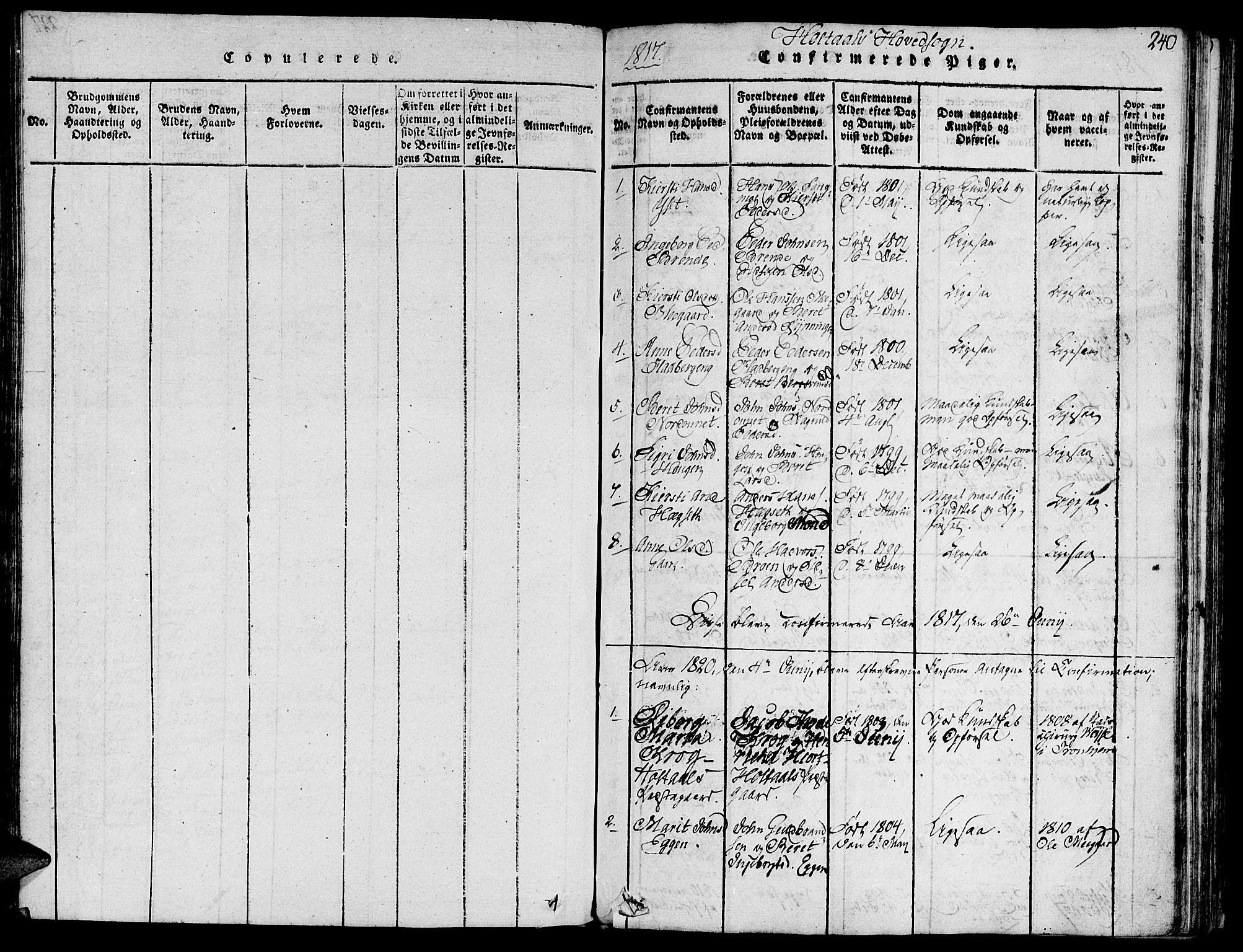SAT, Ministerialprotokoller, klokkerbøker og fødselsregistre - Sør-Trøndelag, 685/L0954: Ministerialbok nr. 685A03 /1, 1817-1829, s. 240