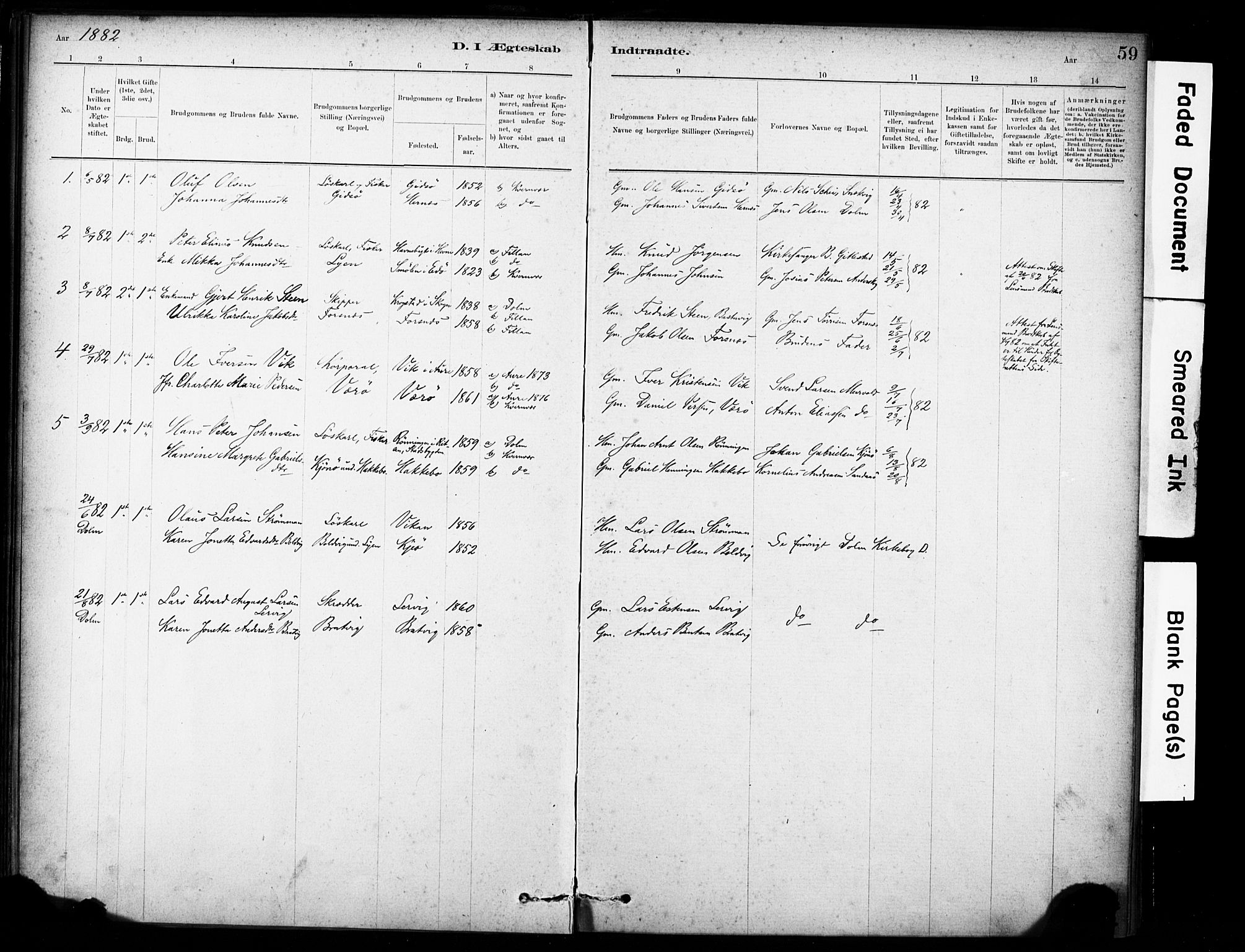 SAT, Ministerialprotokoller, klokkerbøker og fødselsregistre - Sør-Trøndelag, 635/L0551: Ministerialbok nr. 635A01, 1882-1899, s. 59