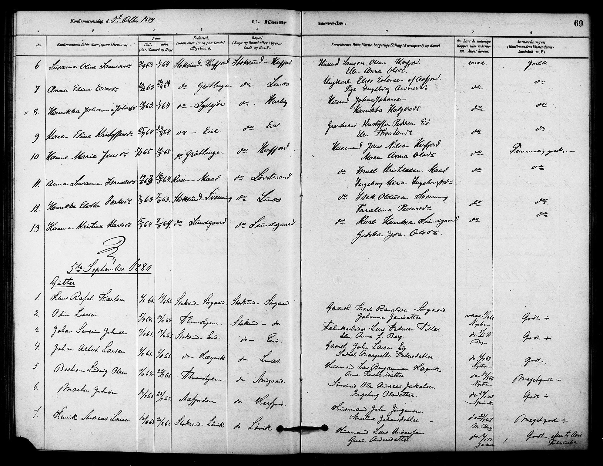 SAT, Ministerialprotokoller, klokkerbøker og fødselsregistre - Sør-Trøndelag, 656/L0692: Ministerialbok nr. 656A01, 1879-1893, s. 69