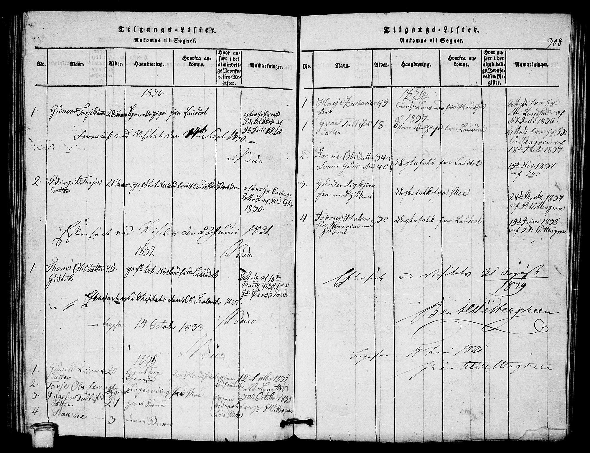 SAKO, Vinje kirkebøker, G/Gb/L0001: Klokkerbok nr. II 1, 1814-1843, s. 308