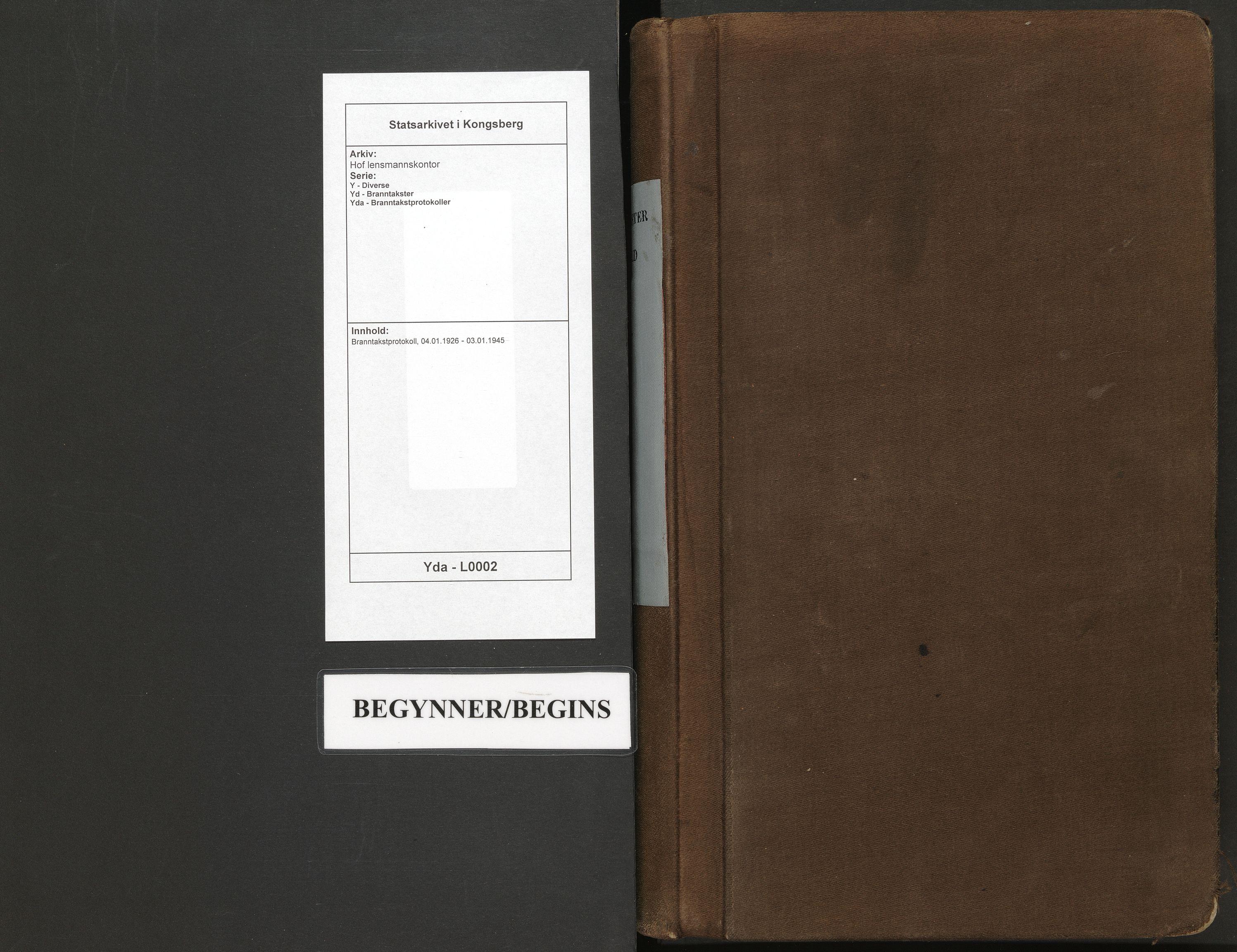 SAKO, Hof lensmannskontor, Y/Yd/Yda/L0002: Branntakstprotokoll, 1926-1945