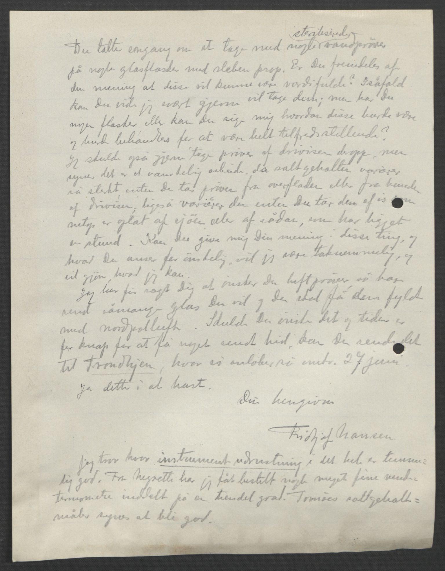 RA, Arbeidskomitéen for Fridtjof Nansens polarekspedisjon, D/L0003: Innk. brev og telegrammer vedr. proviant og utrustning, 1893, s. 317