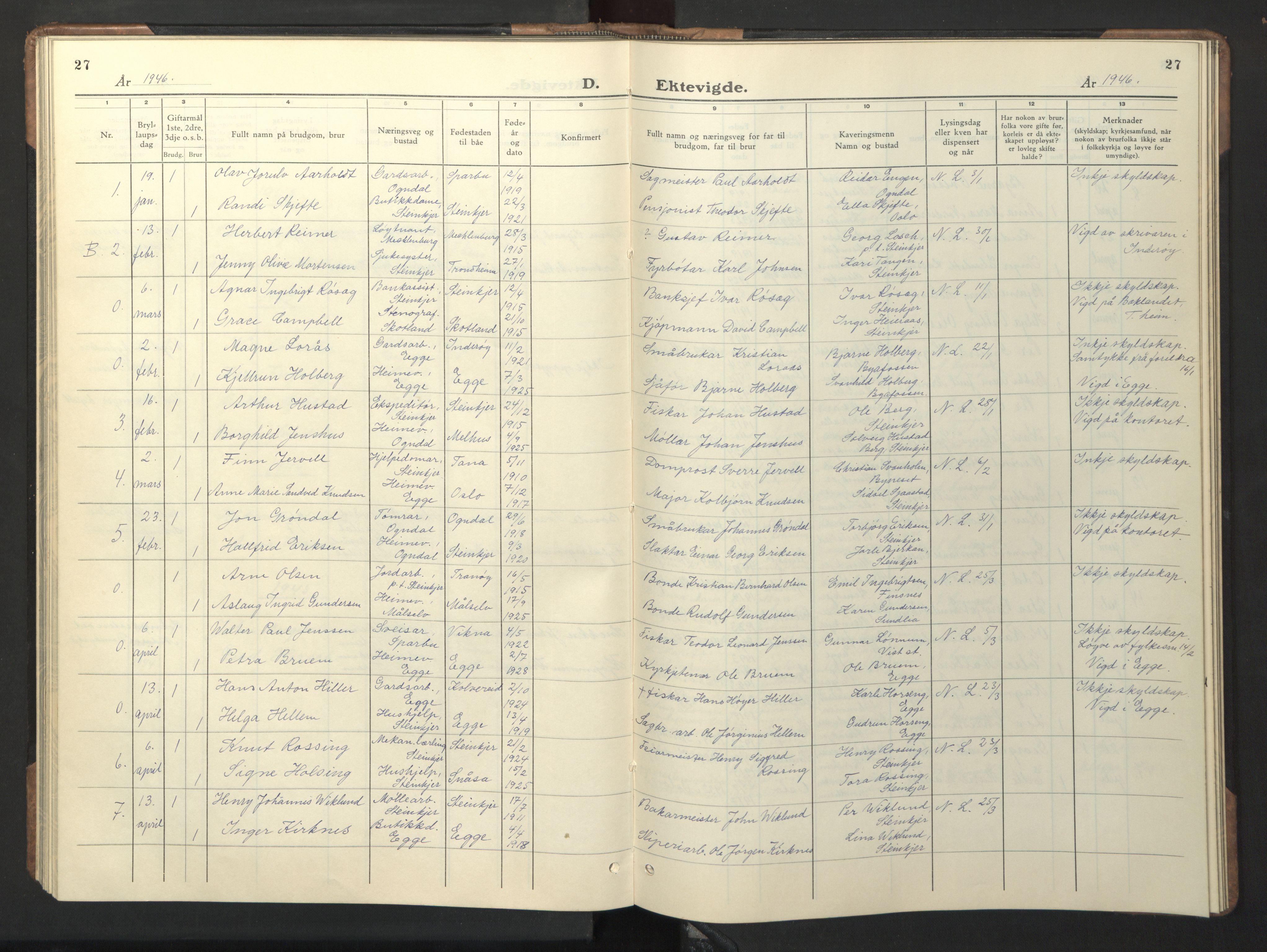 SAT, Ministerialprotokoller, klokkerbøker og fødselsregistre - Nord-Trøndelag, 739/L0377: Klokkerbok nr. 739C05, 1940-1947, s. 27