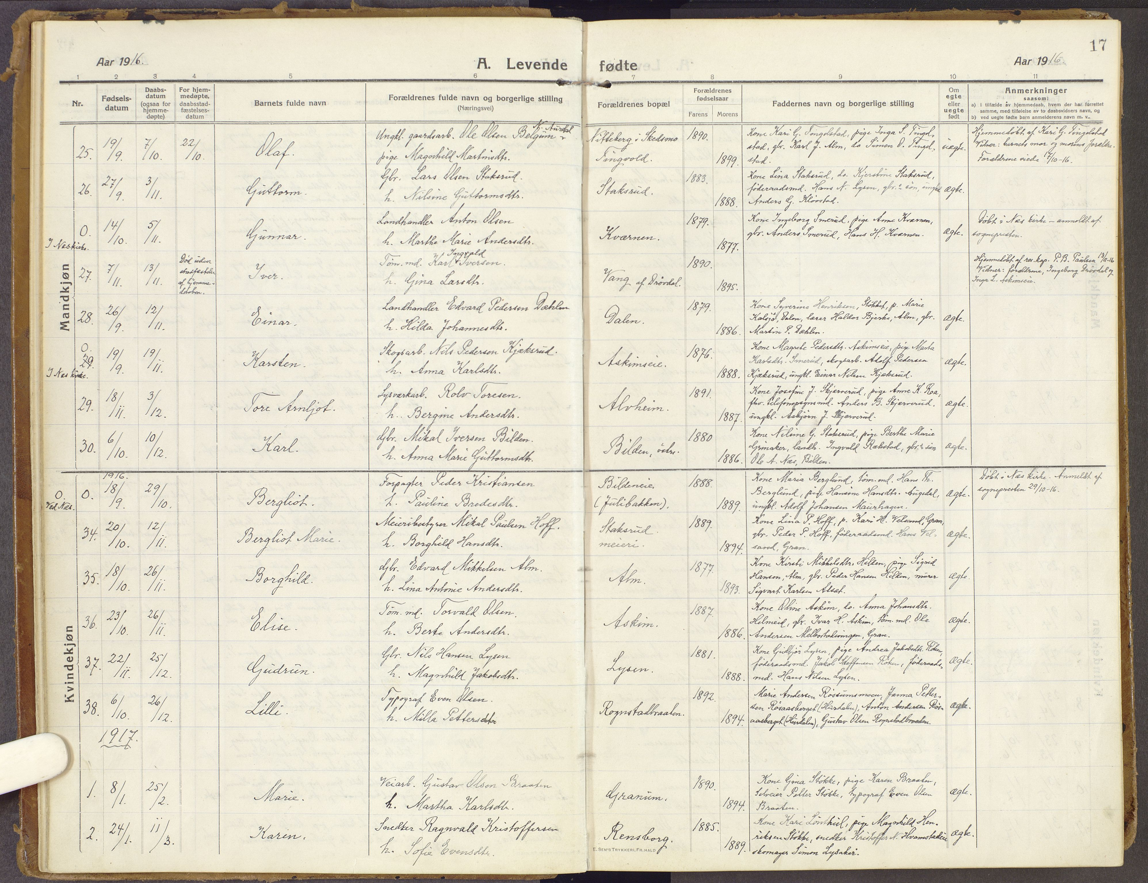 SAH, Brandbu prestekontor, Ministerialbok nr. 3, 1914-1928, s. 17