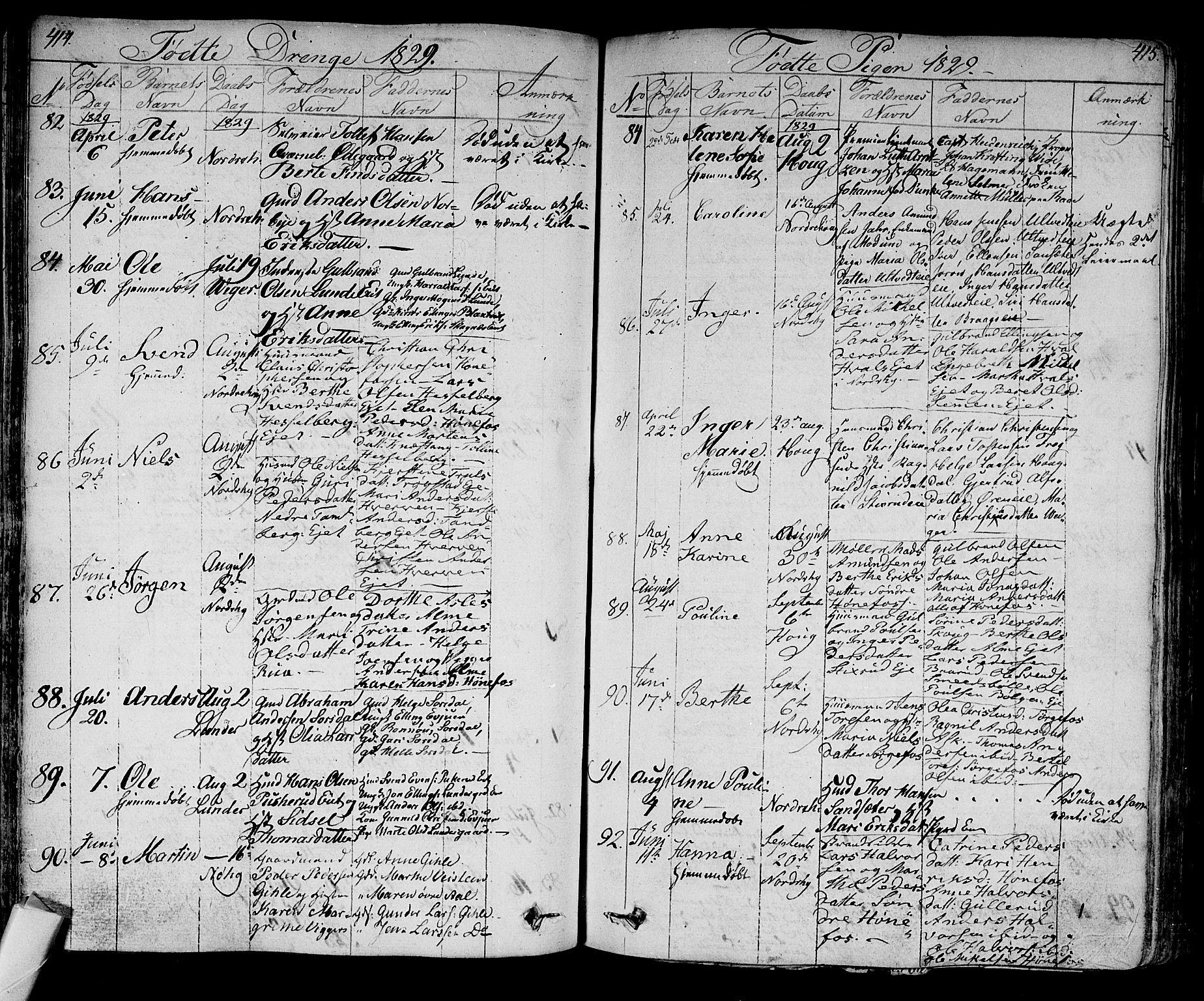 SAKO, Norderhov kirkebøker, F/Fa/L0009: Ministerialbok nr. 9, 1819-1837, s. 414-415