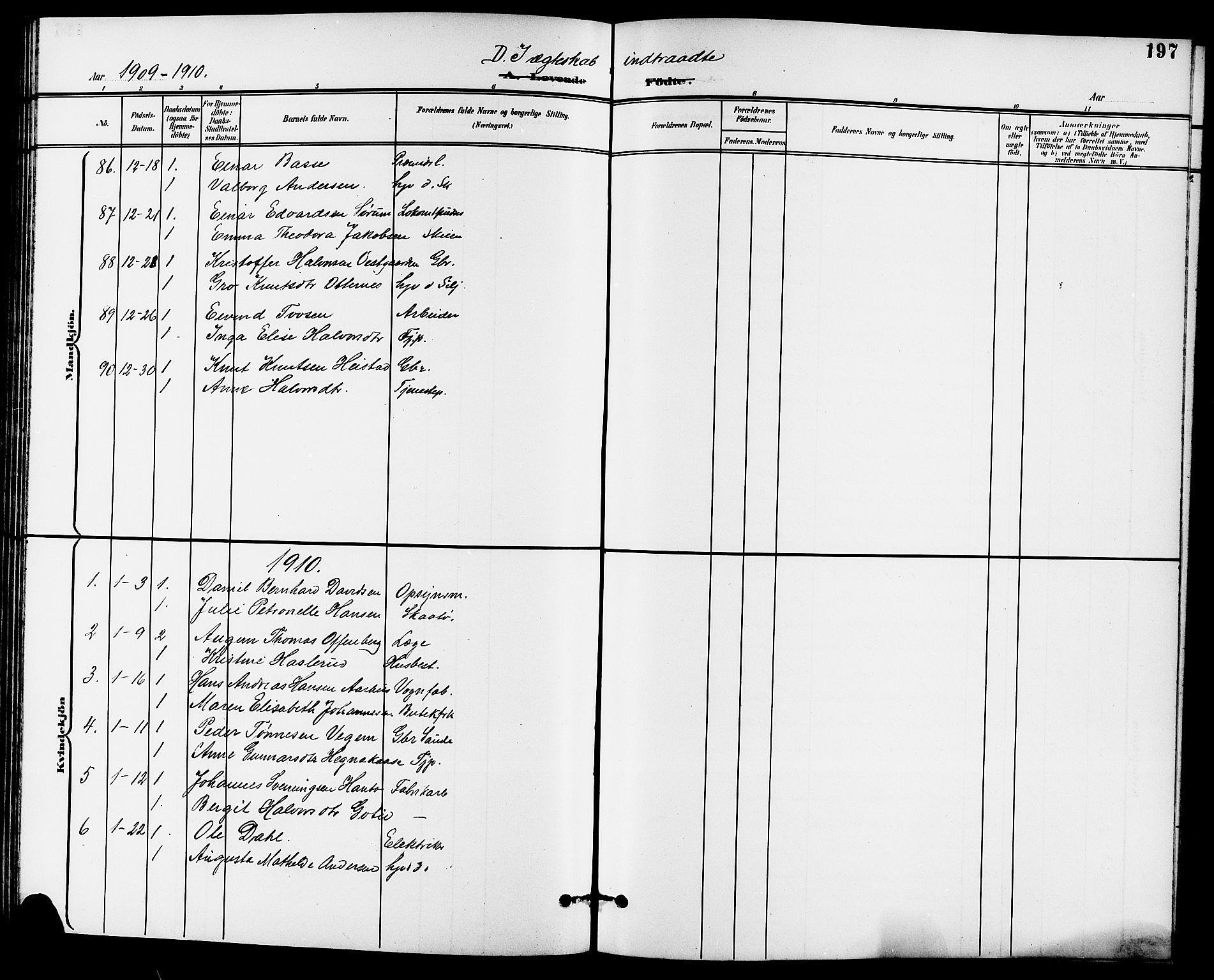 SAKO, Skien kirkebøker, G/Ga/L0008: Klokkerbok nr. 8, 1900-1910, s. 197