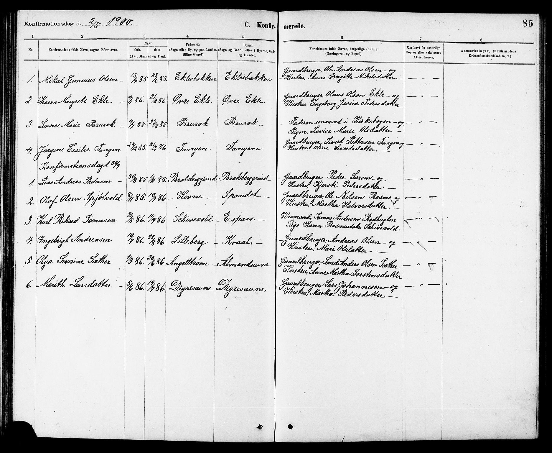 SAT, Ministerialprotokoller, klokkerbøker og fødselsregistre - Sør-Trøndelag, 608/L0341: Klokkerbok nr. 608C07, 1890-1912, s. 85