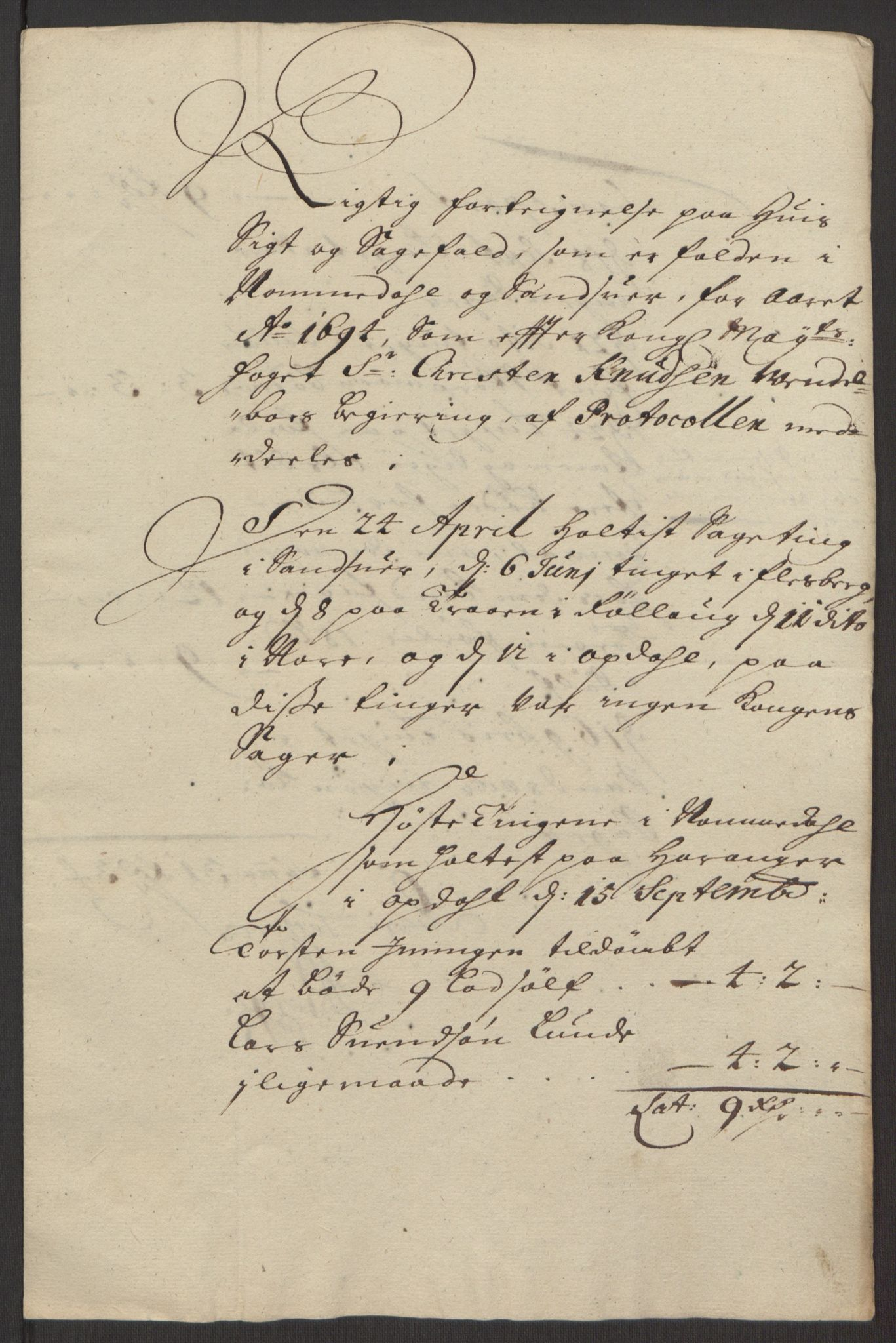 RA, Rentekammeret inntil 1814, Reviderte regnskaper, Fogderegnskap, R24/L1575: Fogderegnskap Numedal og Sandsvær, 1692-1695, s. 211