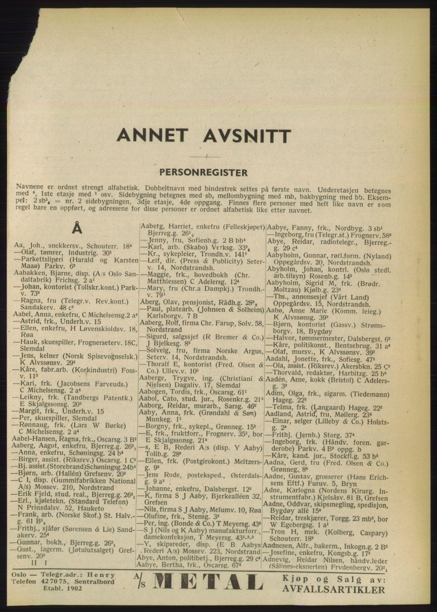 RA, Oslo adressebok (publikasjon)*, 1949, s. 41
