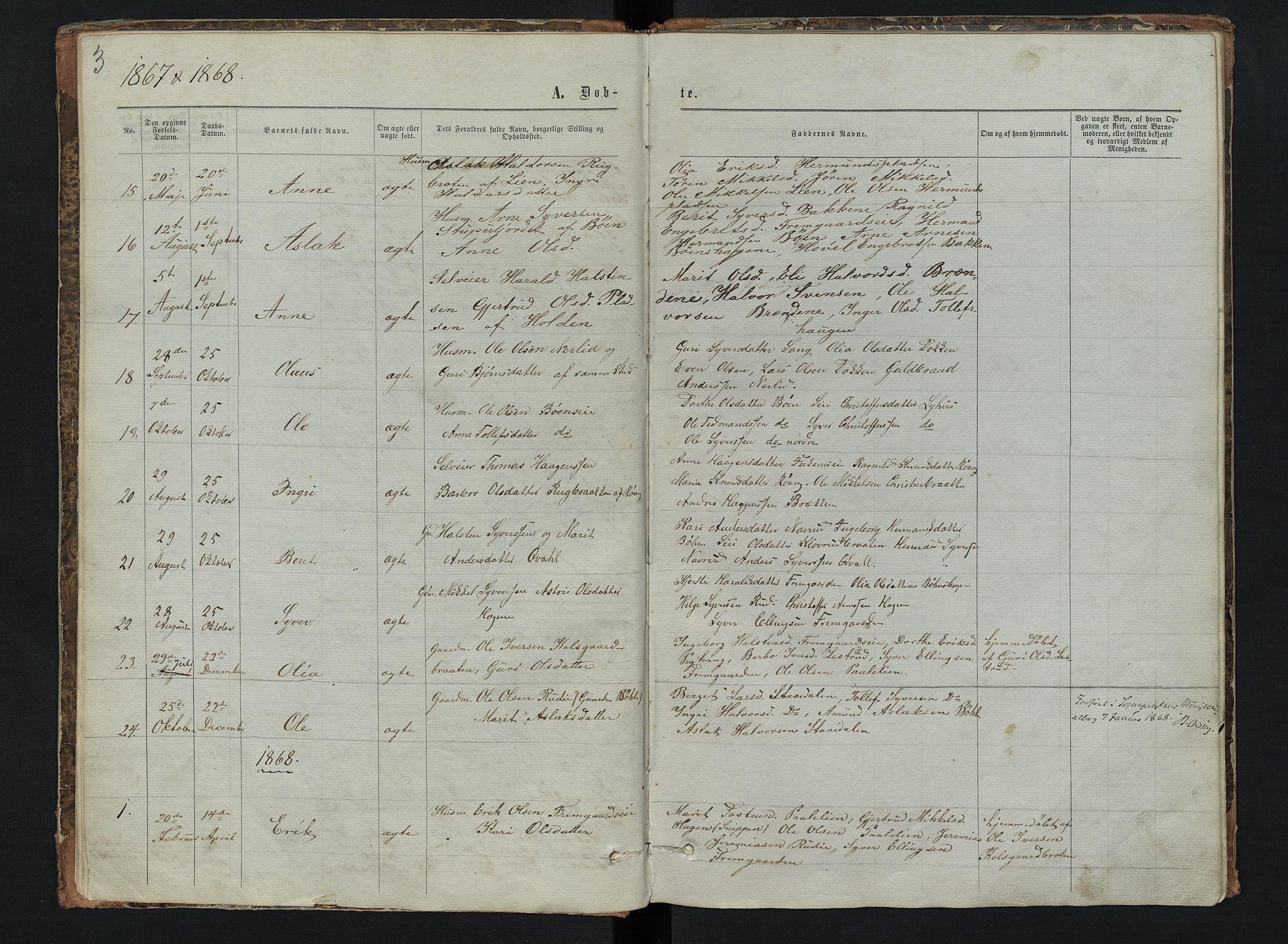 SAH, Sør-Aurdal prestekontor, Klokkerbok nr. 6, 1866-1893, s. 3