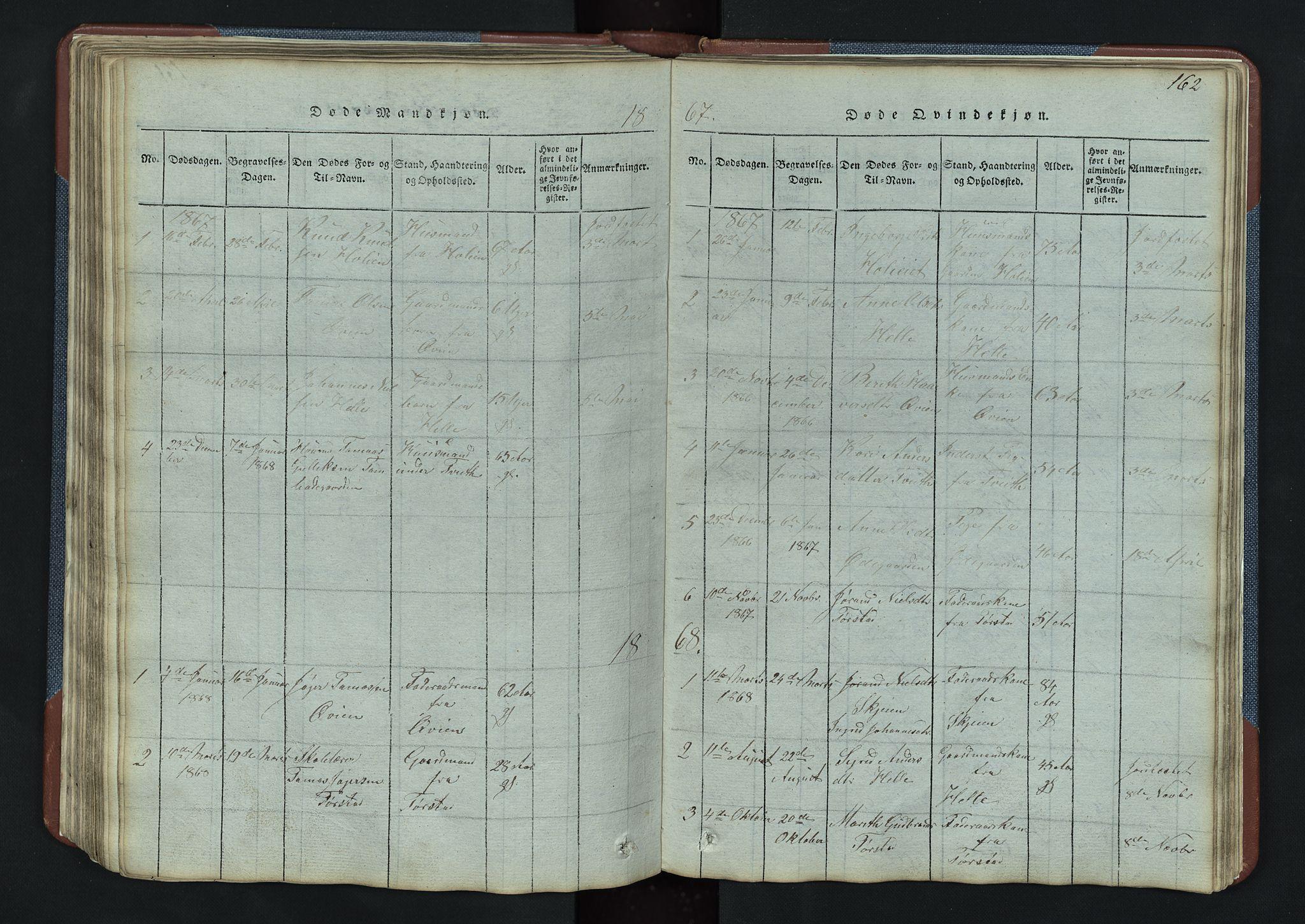 SAH, Vang prestekontor, Valdres, Klokkerbok nr. 3, 1814-1892, s. 162