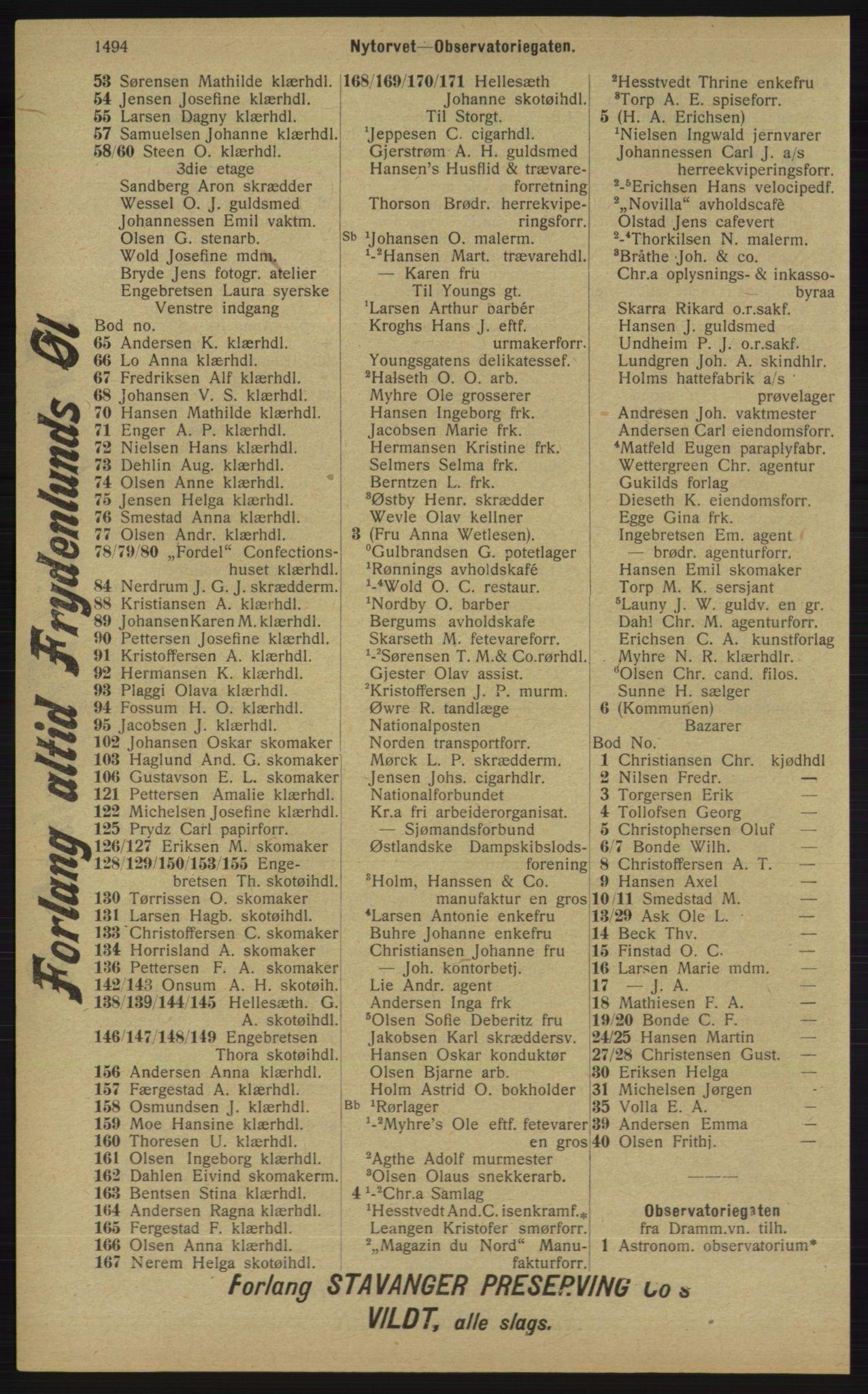 RA, Kristiania adressebok (publikasjon)*, 1913, s. 1494