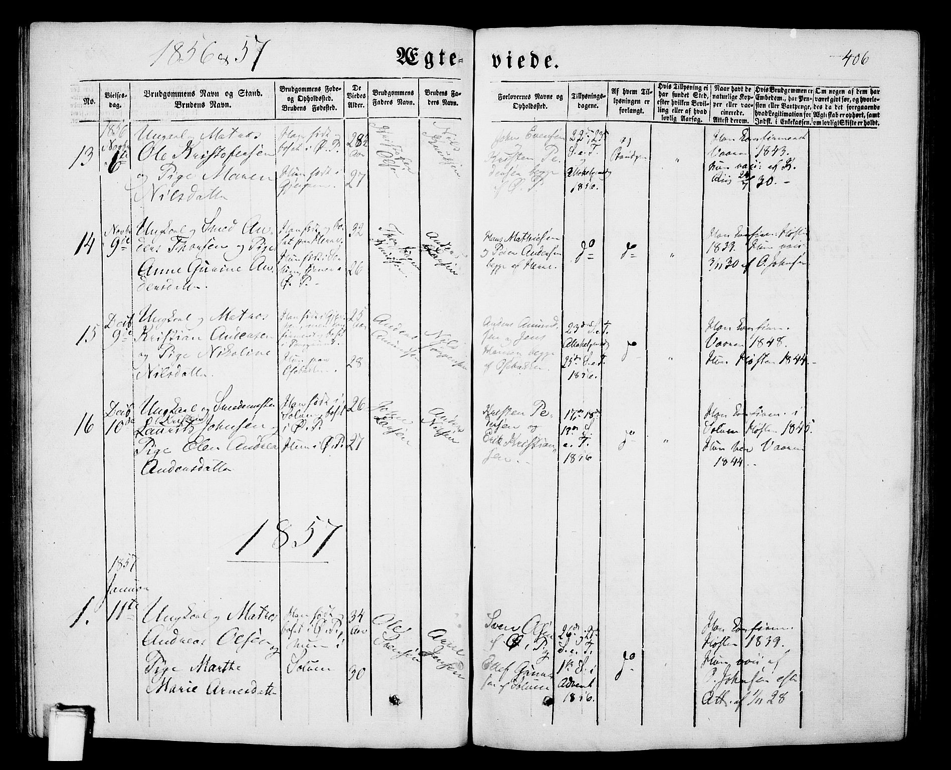 SAKO, Porsgrunn kirkebøker , G/Gb/L0004: Klokkerbok nr. II 4, 1853-1882, s. 406