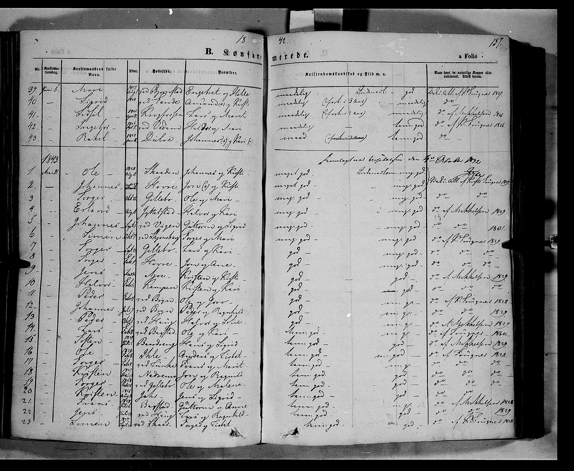 SAH, Øyer prestekontor, Ministerialbok nr. 5, 1842-1857, s. 157