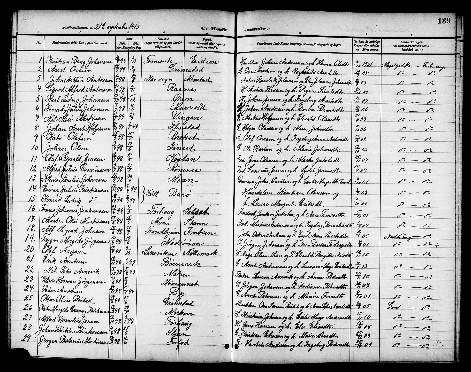 SAT, Ministerialprotokoller, klokkerbøker og fødselsregistre - Sør-Trøndelag, 655/L0688: Klokkerbok nr. 655C04, 1899-1922, s. 139