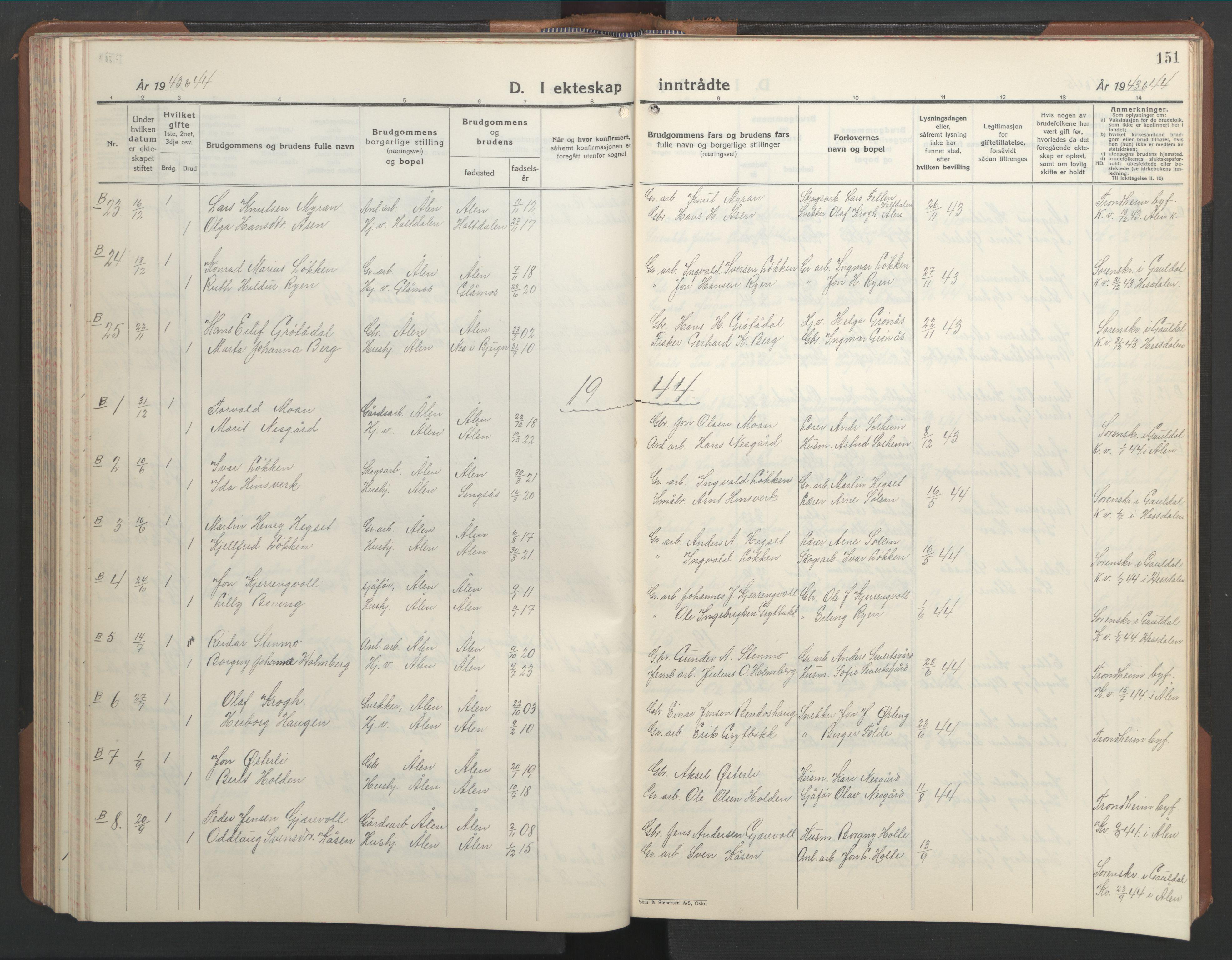 SAT, Ministerialprotokoller, klokkerbøker og fødselsregistre - Sør-Trøndelag, 686/L0986: Klokkerbok nr. 686C02, 1933-1950, s. 151