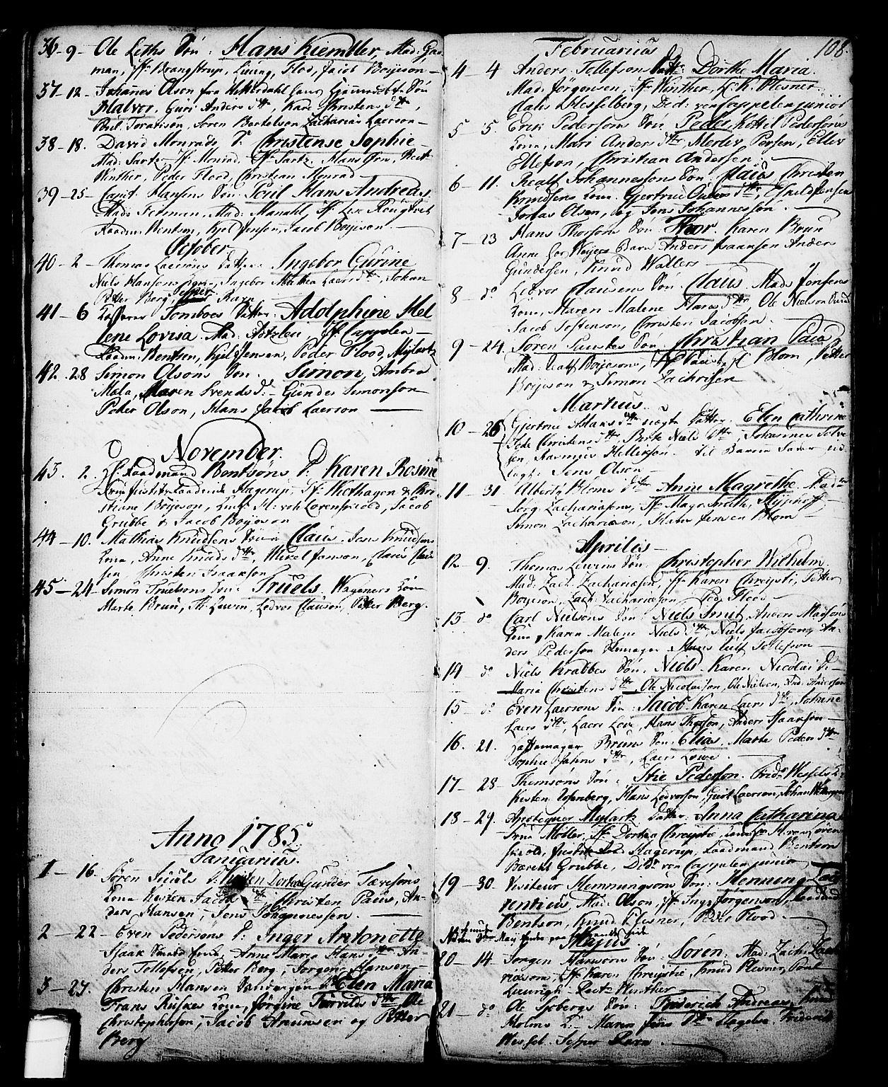 SAKO, Skien kirkebøker, G/Ga/L0001: Klokkerbok nr. 1, 1756-1791, s. 108