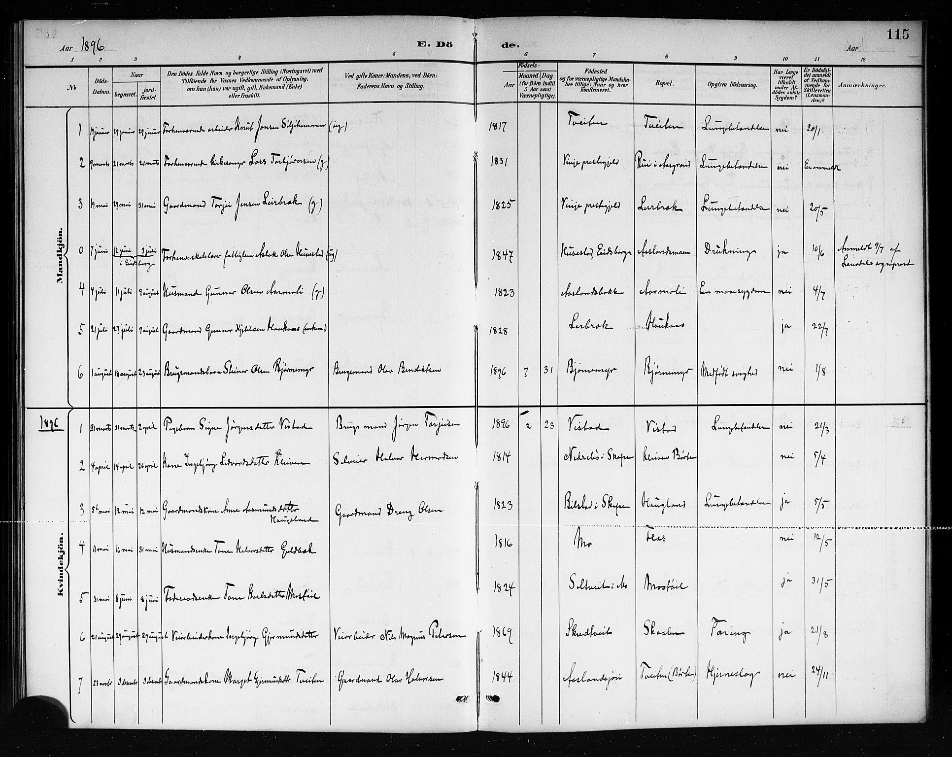 SAKO, Mo kirkebøker, G/Ga/L0002: Klokkerbok nr. I 2, 1892-1914, s. 115