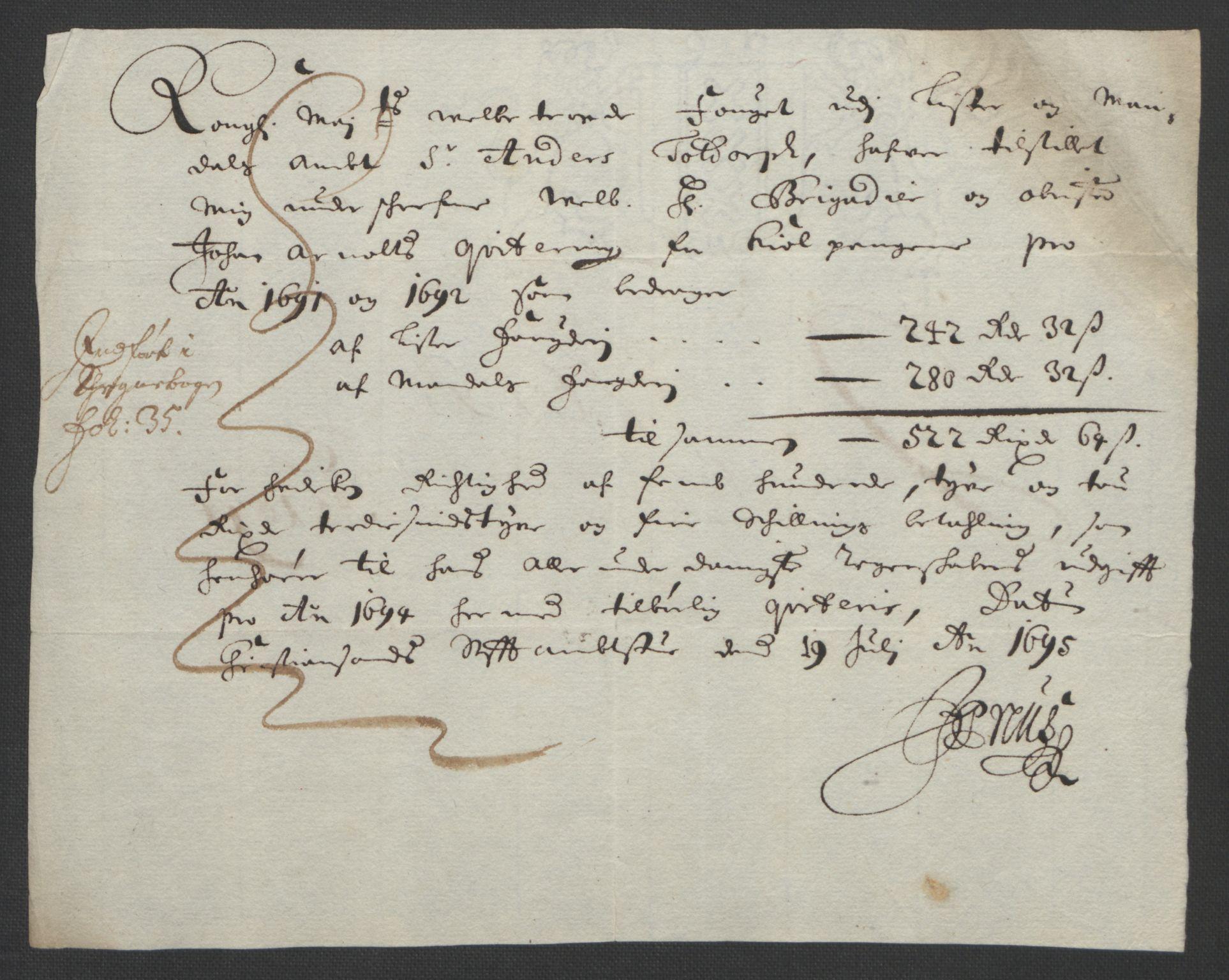 RA, Rentekammeret inntil 1814, Reviderte regnskaper, Fogderegnskap, R43/L2545: Fogderegnskap Lista og Mandal, 1694-1695, s. 138