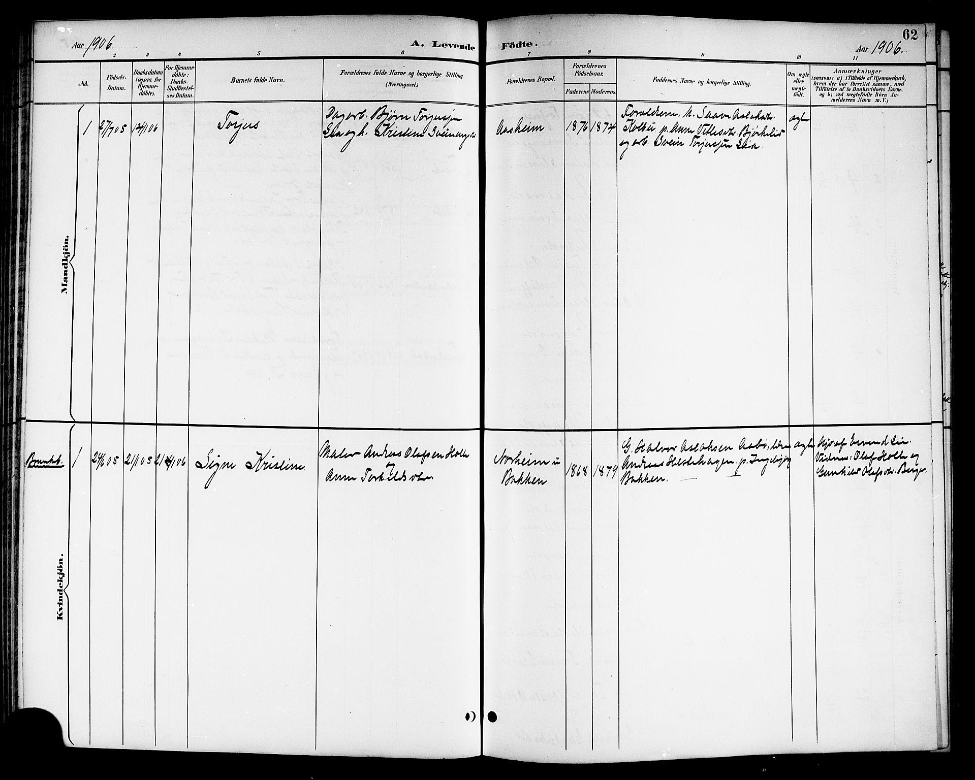 SAKO, Kviteseid kirkebøker, G/Ga/L0002: Klokkerbok nr. I 2, 1893-1918, s. 62